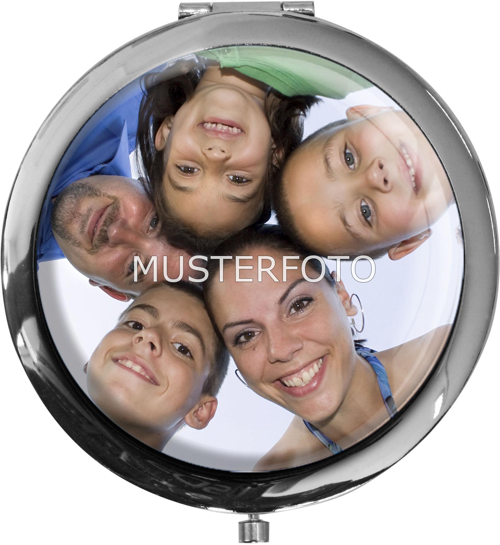"""Personalisierbarer Taschenspiegel in runder Form """"Mit Ihrem eigenen Foto"""""""