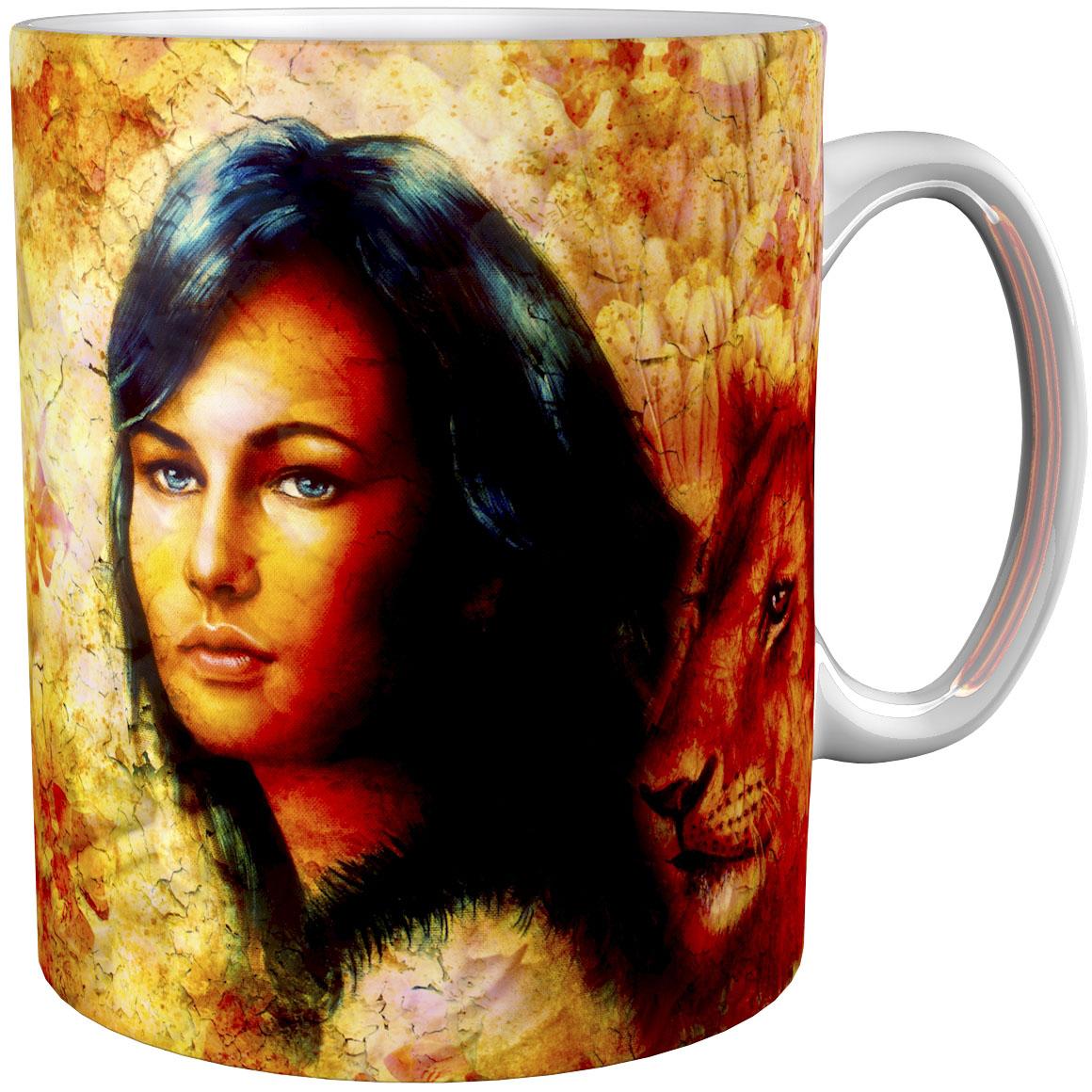 Kaffeetasse / Kaffeebecher / Löwe / Indianer / Fantasy / Geschenktasse
