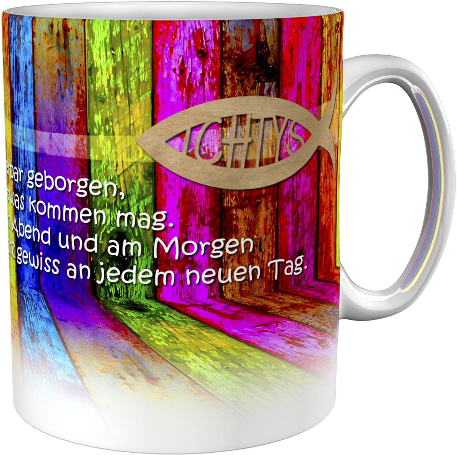 Kaffeetasse / Kaffeebecher / Buntes Holz / Christlich