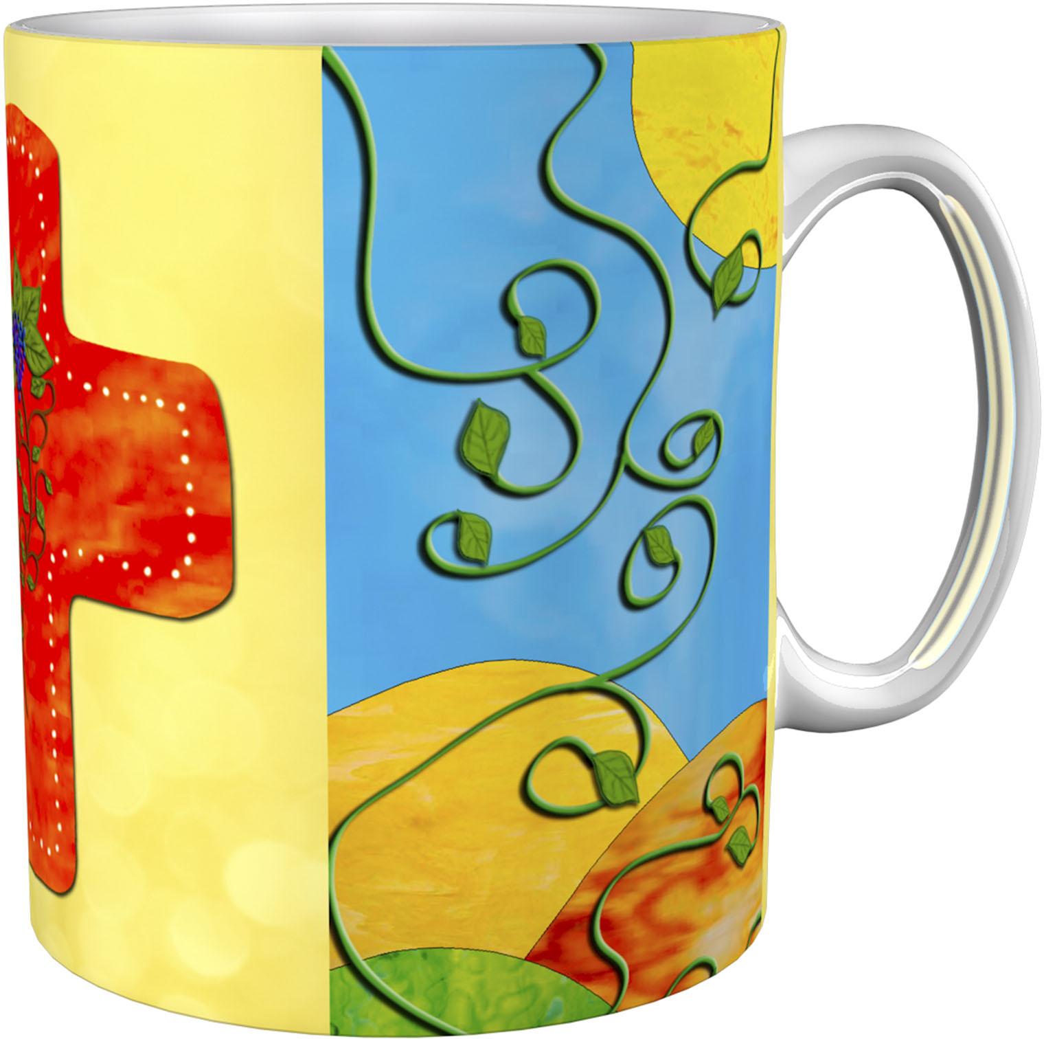 Kaffeetasse / Kaffeebecher / Kreuz / Weinstock / Christlich