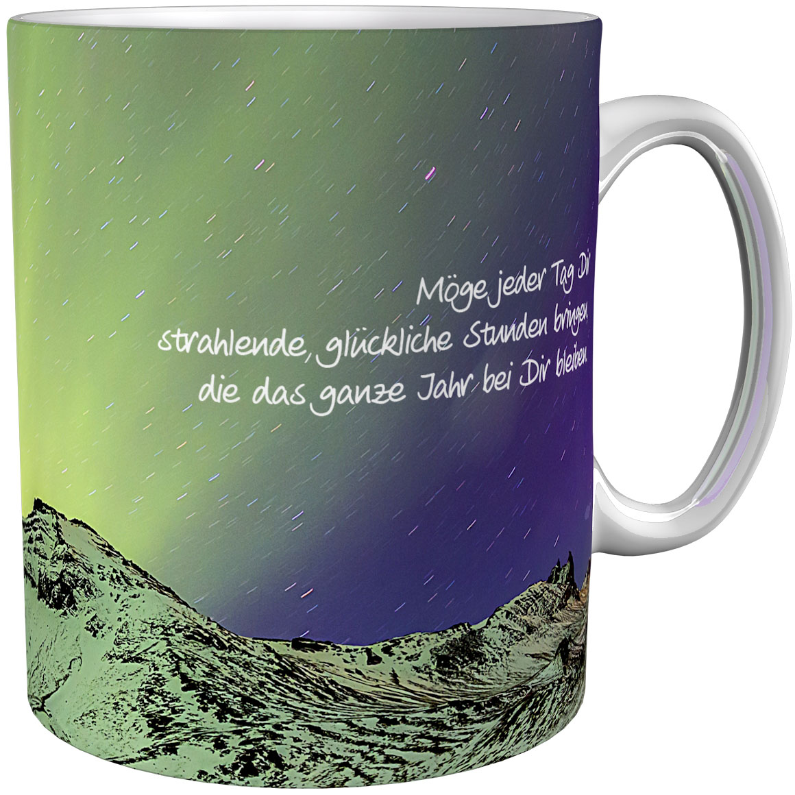 Kaffeetasse / Kaffeebecher / Polarlicht / Geschenktasse