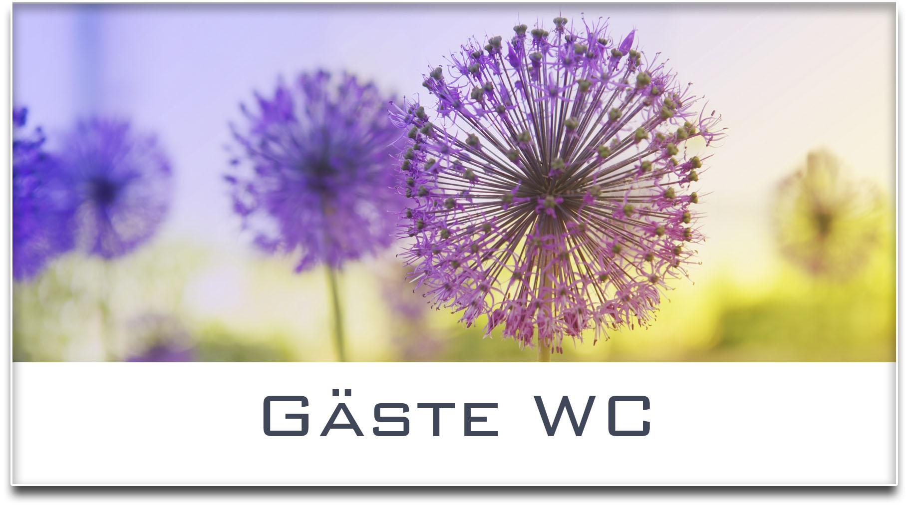 Türschild / Haustürschild / Blume / Gäste WC / Selbstklebend