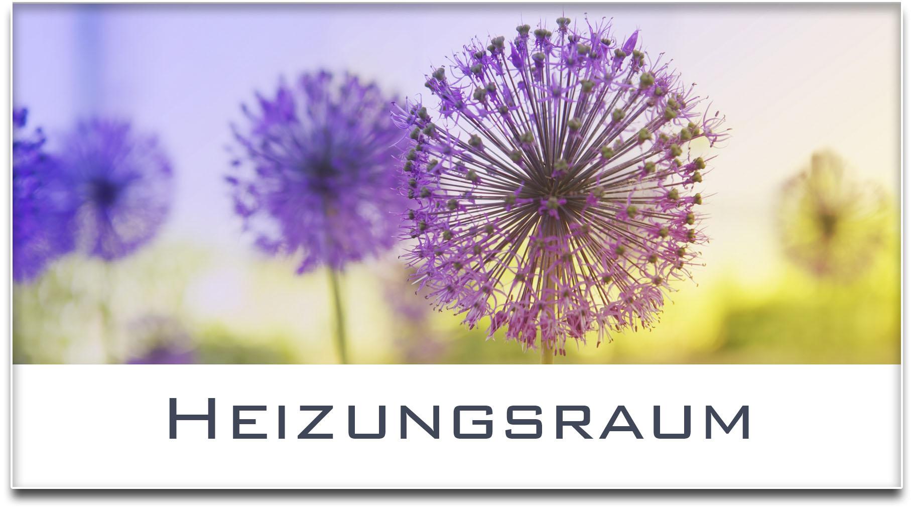 Türschild / Haustürschild / Blume / Heizungsraum / Selbstklebend