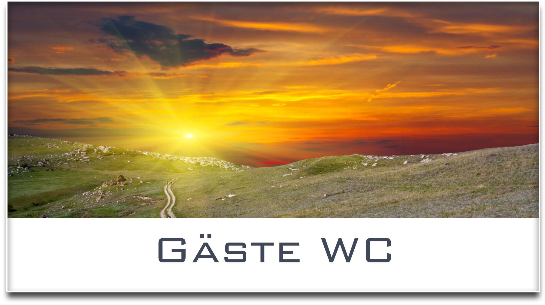Türschild / Haustürschild / Sonnenuntergang / Gäste WC / Selbstklebend
