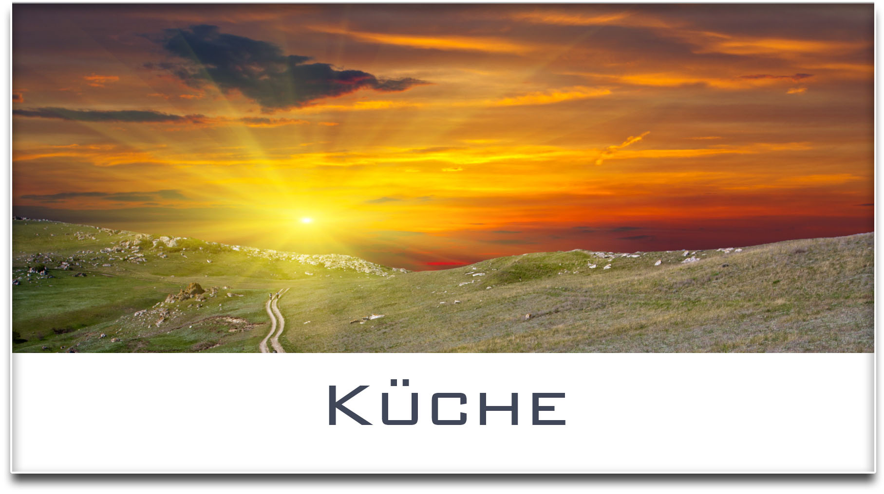 Türschild / Haustürschild / Sonnenuntergang / Küche / Selbstklebend
