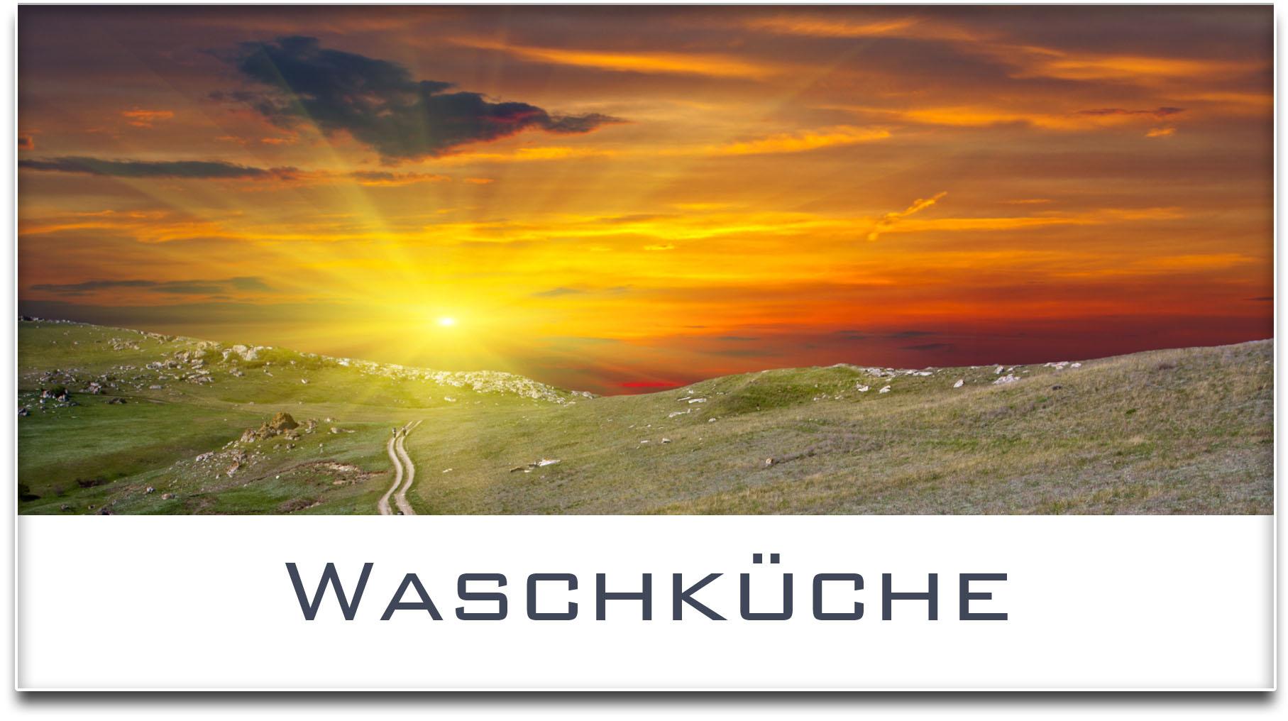 Türschild / Haustürschild / Sonnenuntergang / Waschküche / Selbstklebend