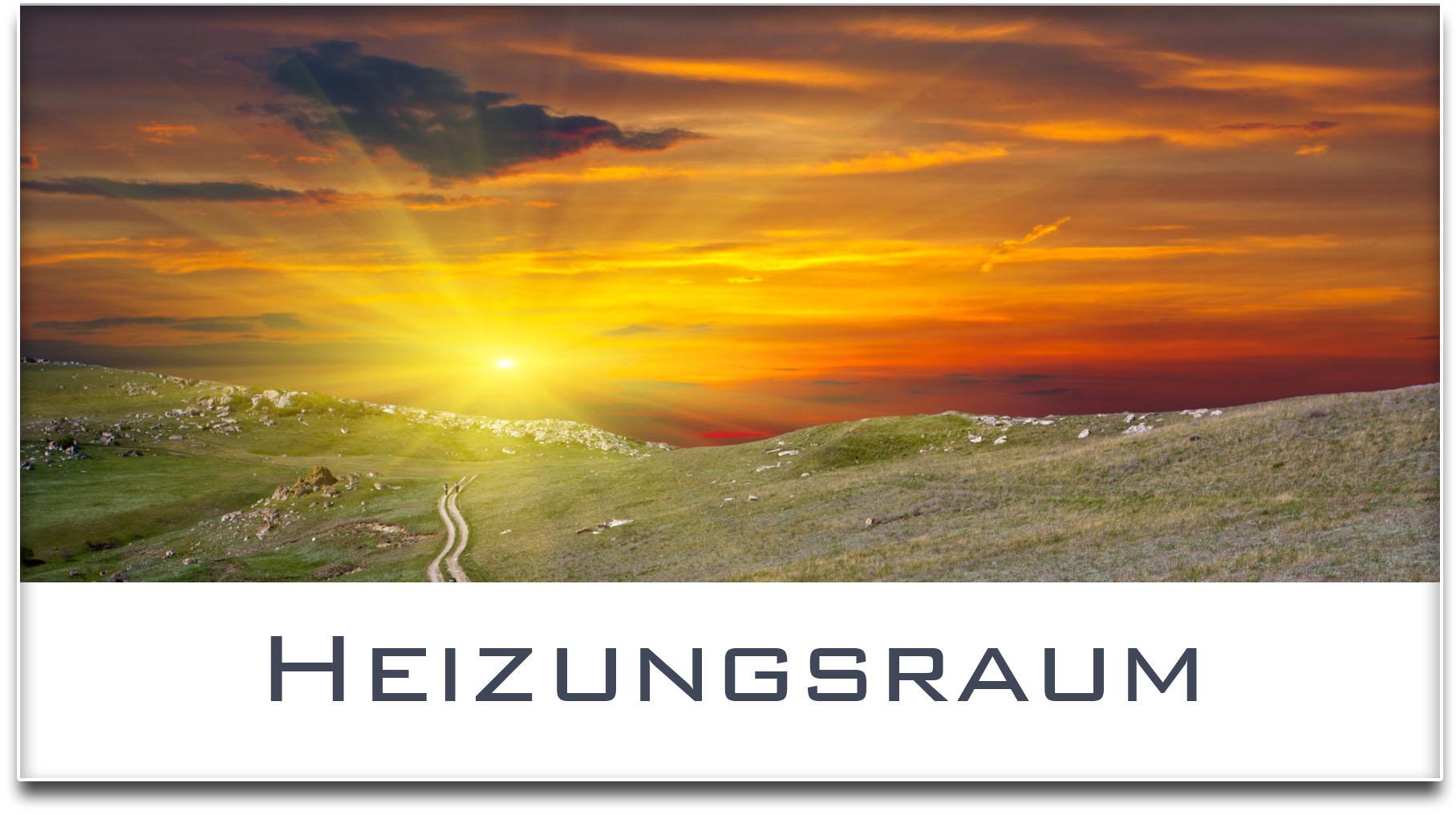 Türschild / Haustürschild / Sonnenuntergang / Heizungsraum / Selbstklebend