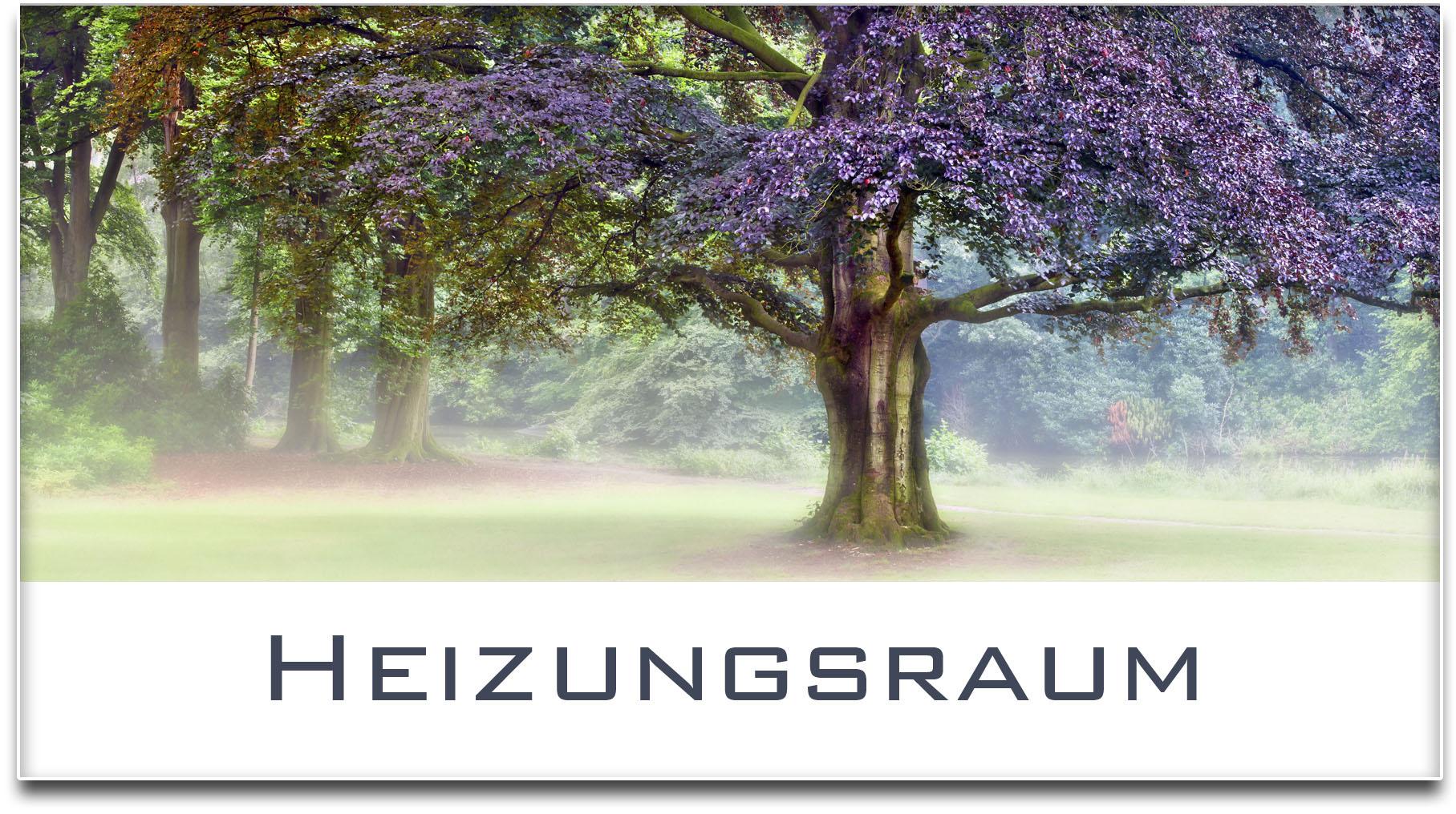 Türschild / Haustürschild / Blutbuche / Baum / Heizungsraum / Selbstklebend