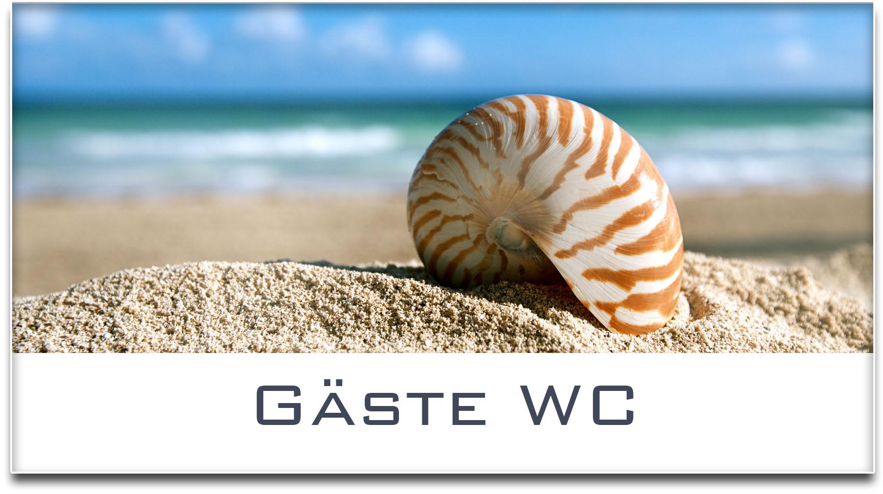 Türschild / Haustürschild / Muschel / Strand / Gäste WC / Selbstklebend