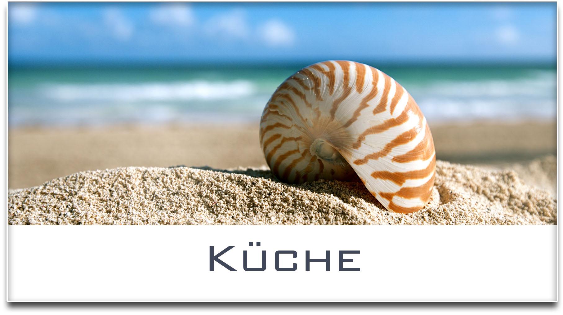 Türschild / Haustürschild / Muschel / Strand / Küche / Selbstklebend
