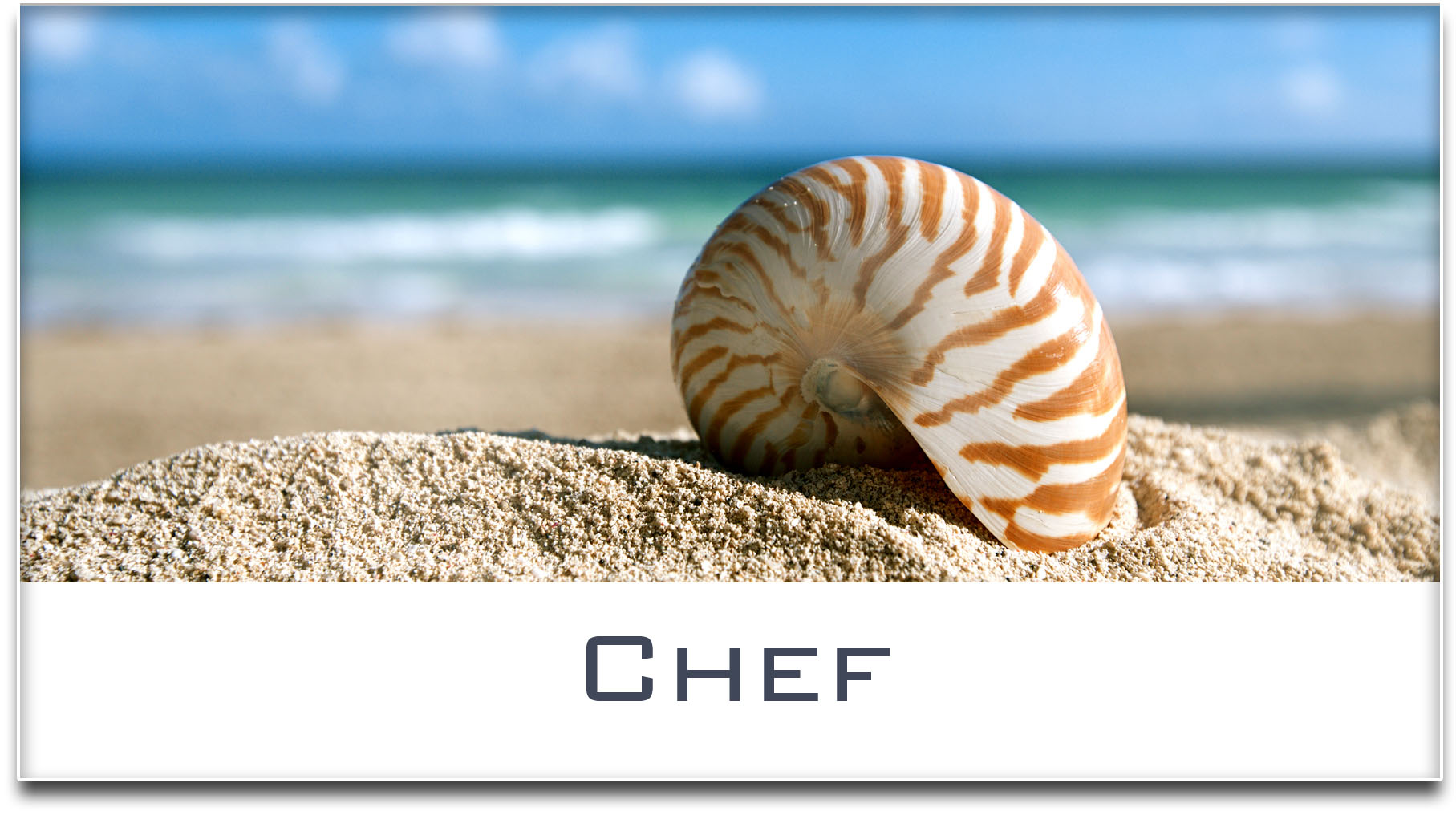 Türschild / Haustürschild / Muschel / Strand / Chef / Selbstklebend