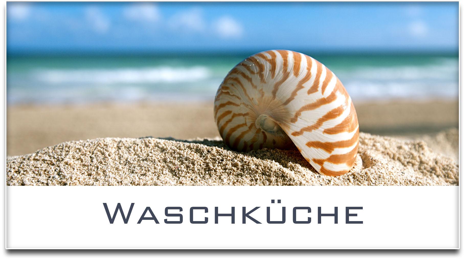 Türschild / Haustürschild / Muschel / Strand / Waschküche / Selbstklebend
