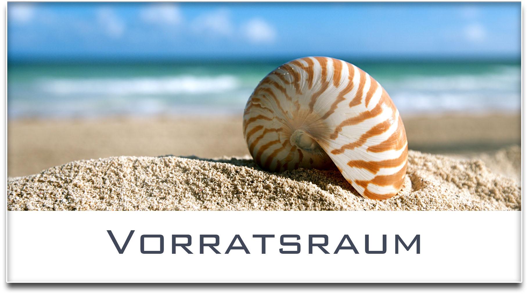 Türschild / Haustürschild / Muschel / Strand / Vorratsraum / Selbstklebend