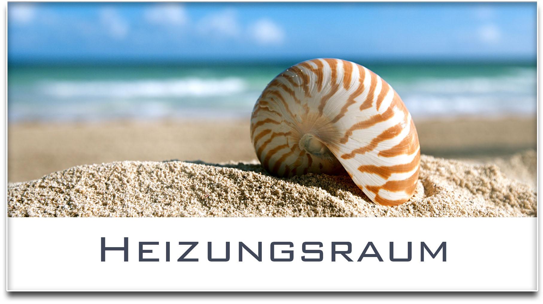 Türschild / Haustürschild / Muschel / Strand / Heizungsraum / Selbstklebend
