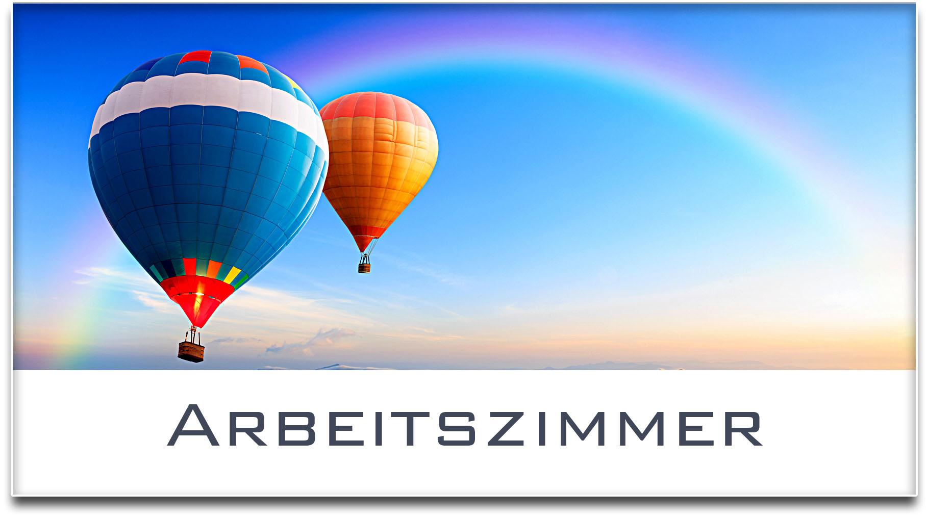Türschild / Haustürschild / Heissluftballons / Arbeitszimmer / Selbstklebend