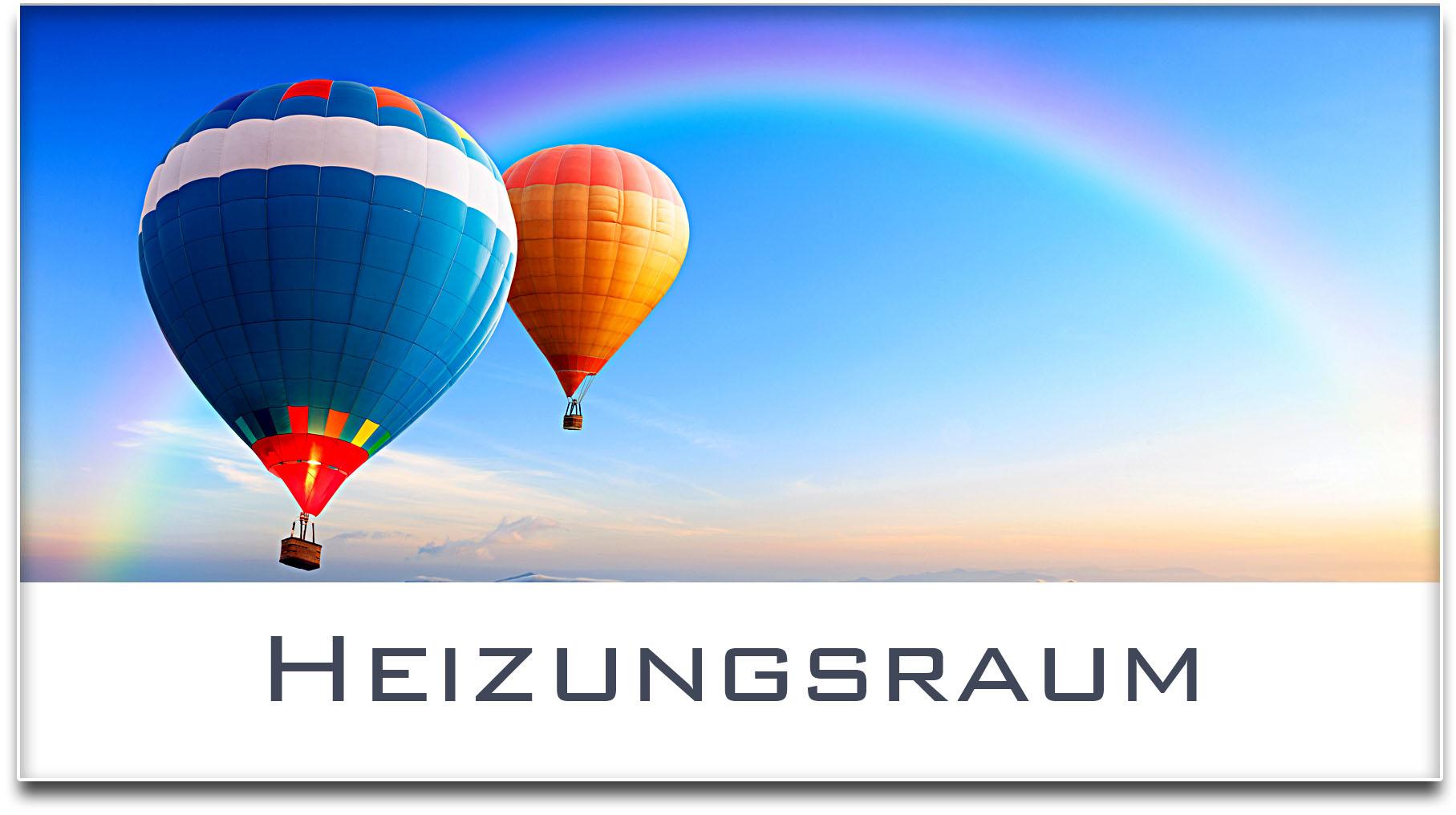 Türschild / Haustürschild / Heissluftballons / Heizungsraum / Selbstklebend