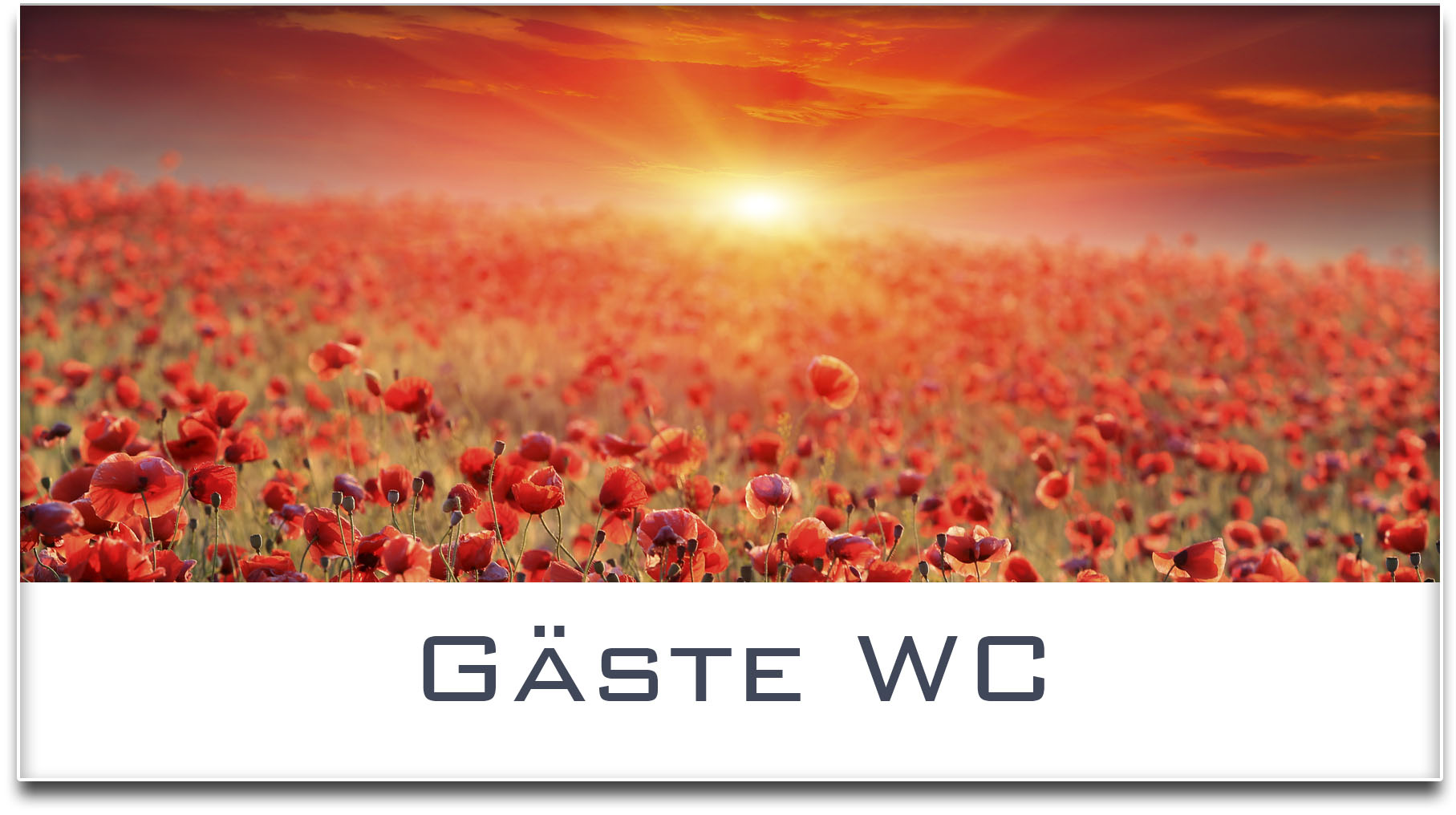 Türschild / Mohnfeld / Sonnenuntergang / Gäste WC / Selbstklebend