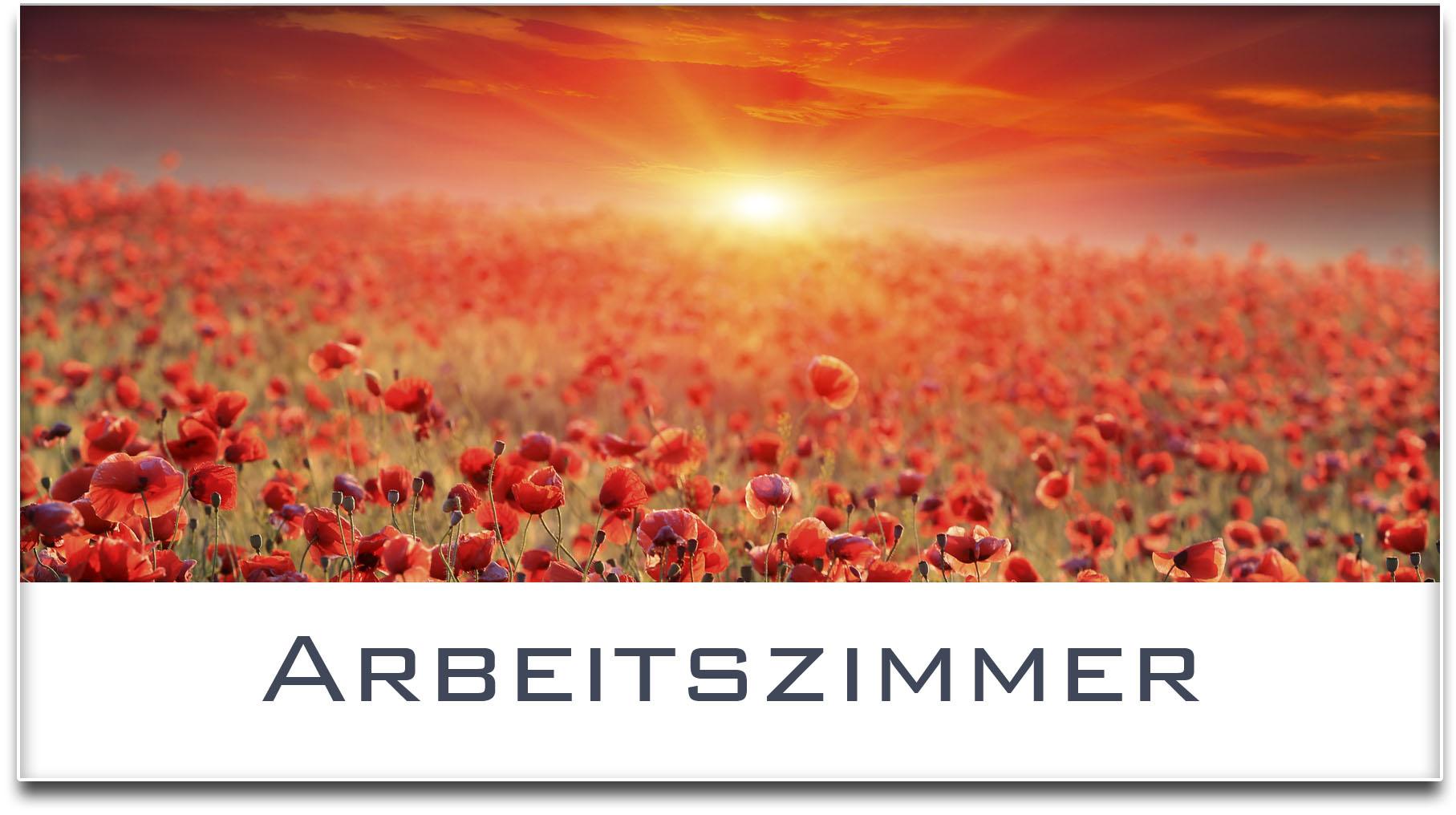 Türschild / Mohnfeld / Sonnenuntergang / Arbeitszimmer / Selbstklebend