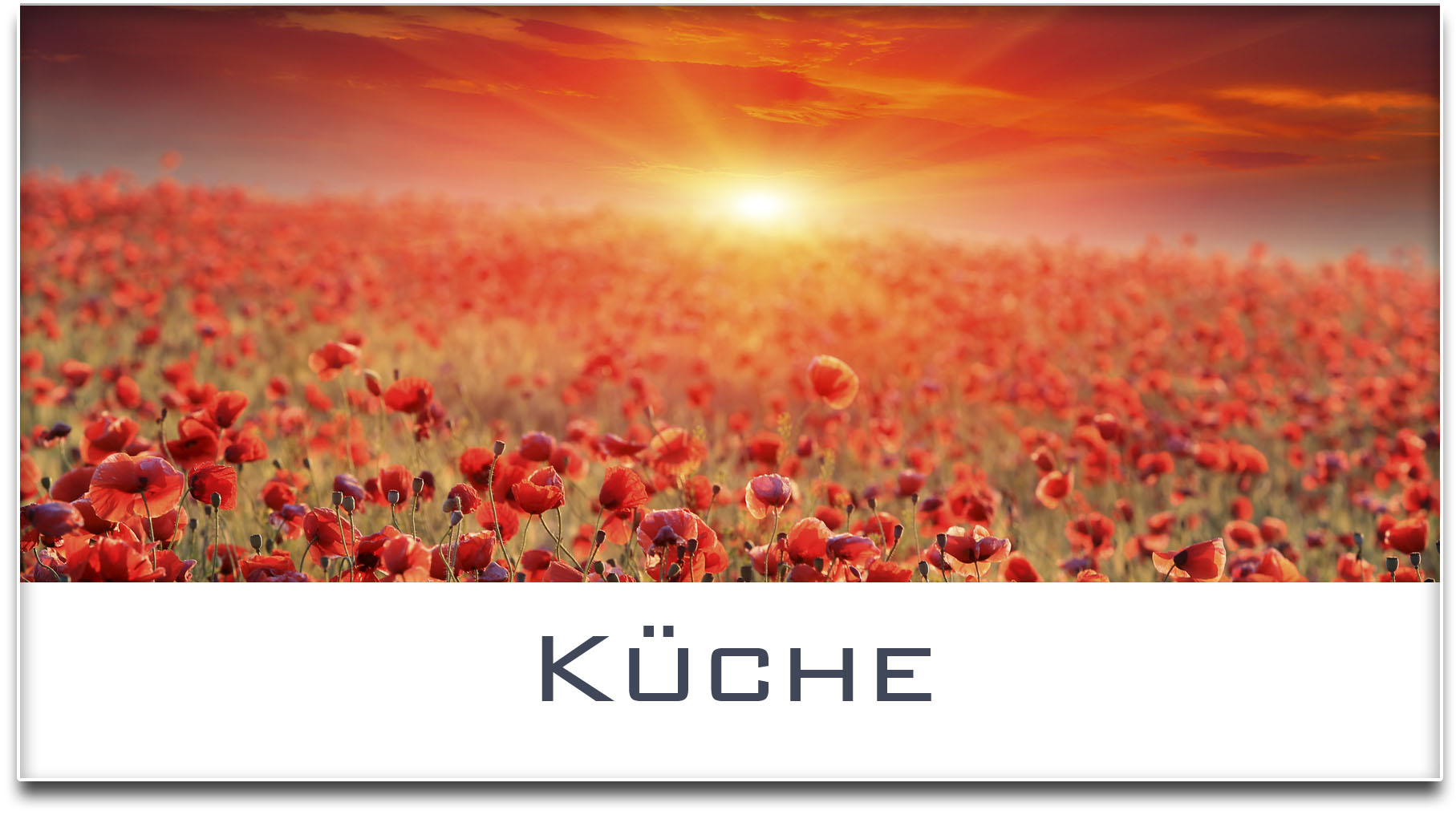 Türschild / Haustürschild / Mohnfeld / Sonnenuntergang / Küche / Selbstklebend