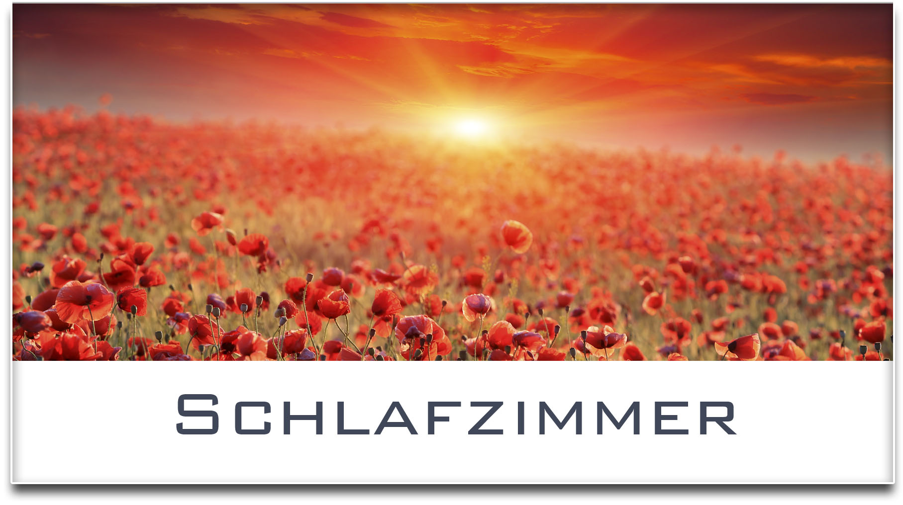Türschild / Mohnfeld / Sonnenuntergang / Schlafzimmer / Selbstklebend