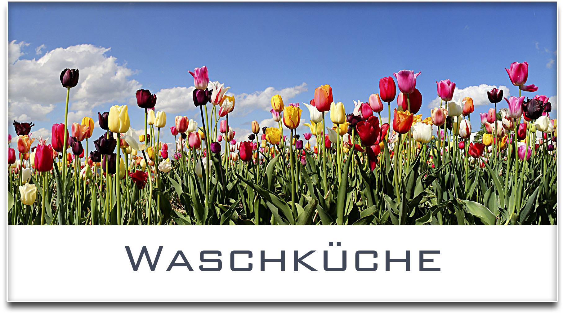 Türschild / Haustürschild / Tulpenfeld / Waschküche / Selbstklebend