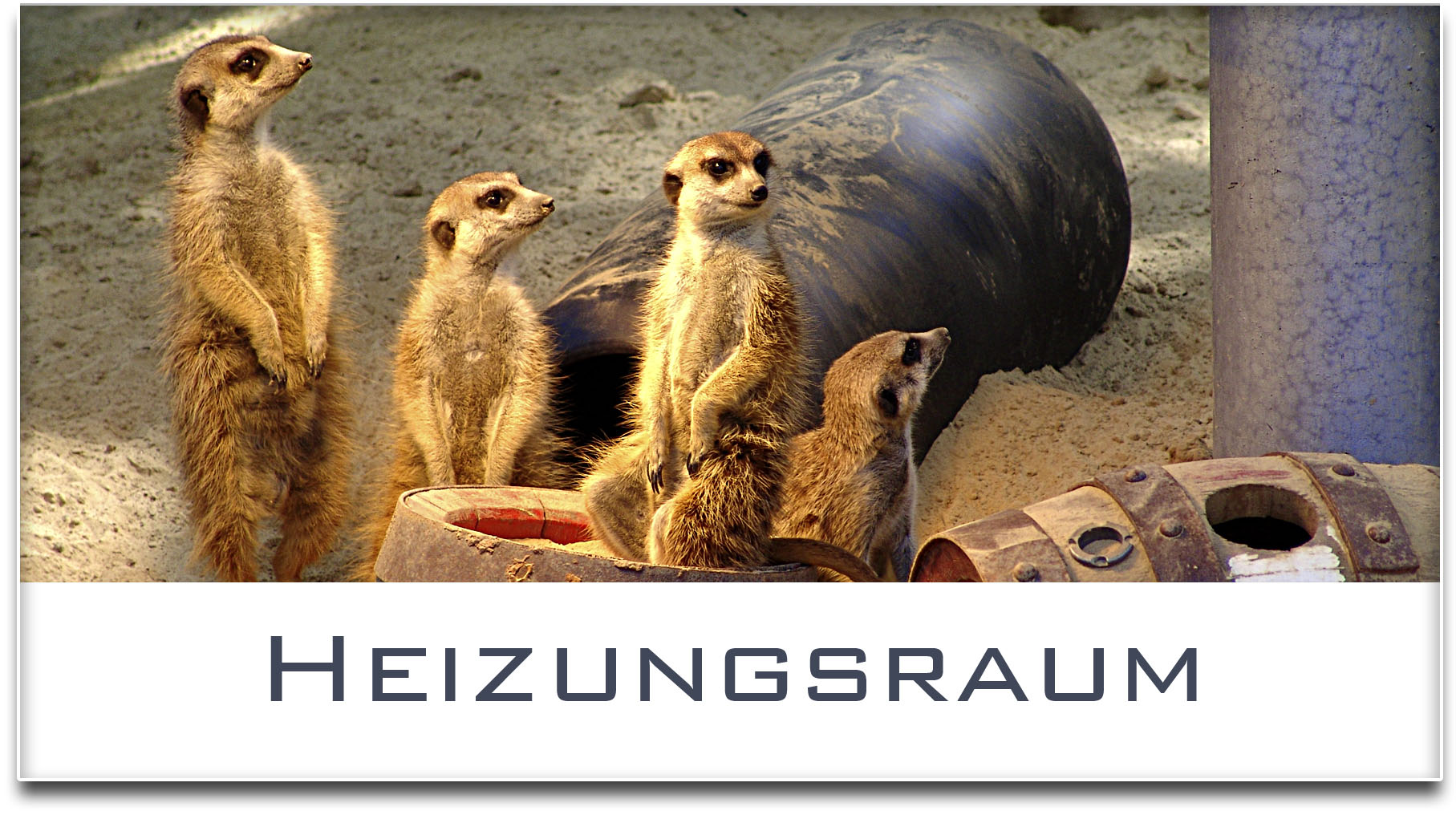 Türschild / Haustürschild / Erdmännchen / Heizungsraum / Selbstklebend