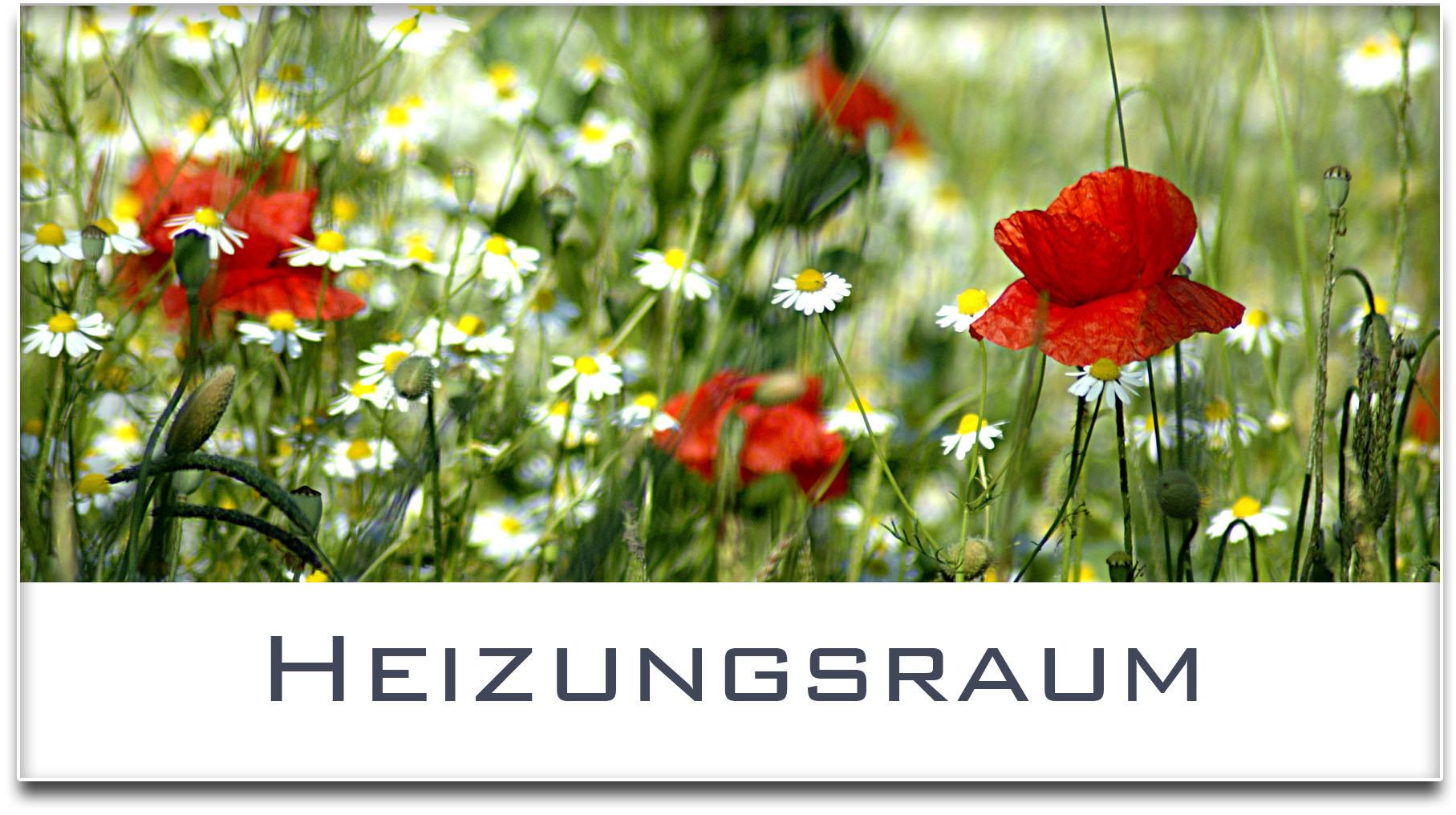 Türschild / Haustürschild / Blumenwiese / Heizungsraum / Selbstklebend