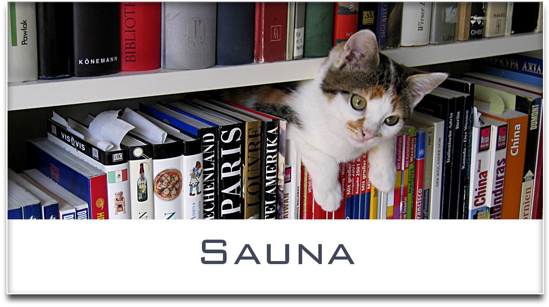 Türschild / Haustürschild / Katze / Bücherregal / Sauna / Selbstklebend