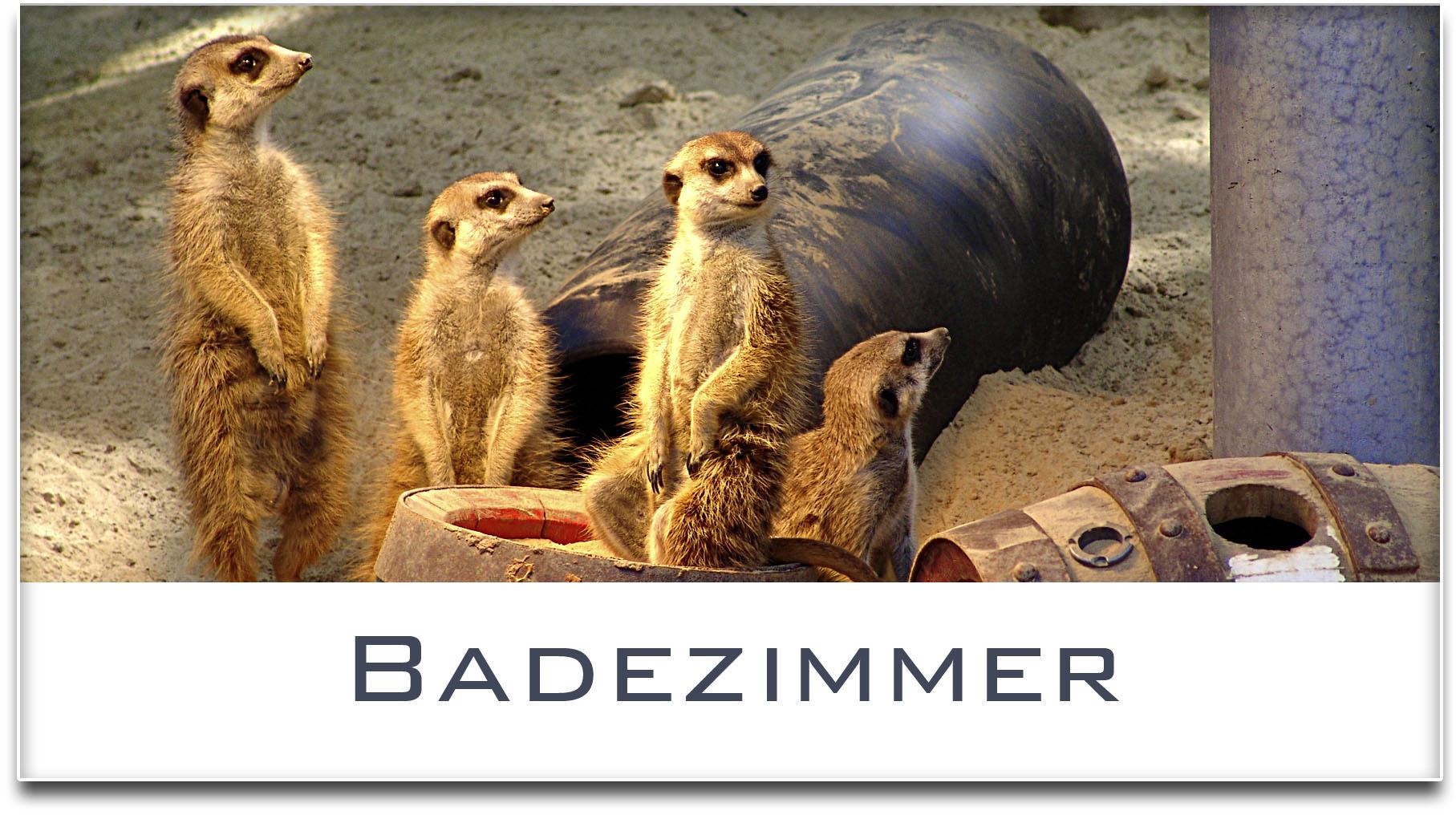 Türschild / Haustürschild / Erdmännchen / Badezimmer / Selbstklebend