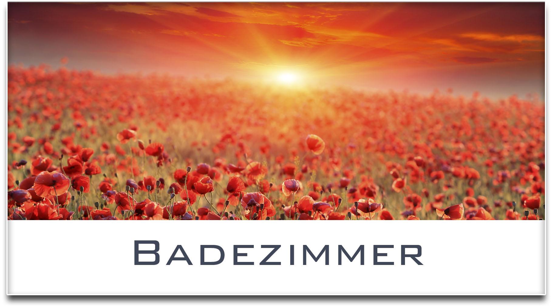Türschild / Mohnfeld / Sonnenuntergang / Badezimmer / Selbstklebend