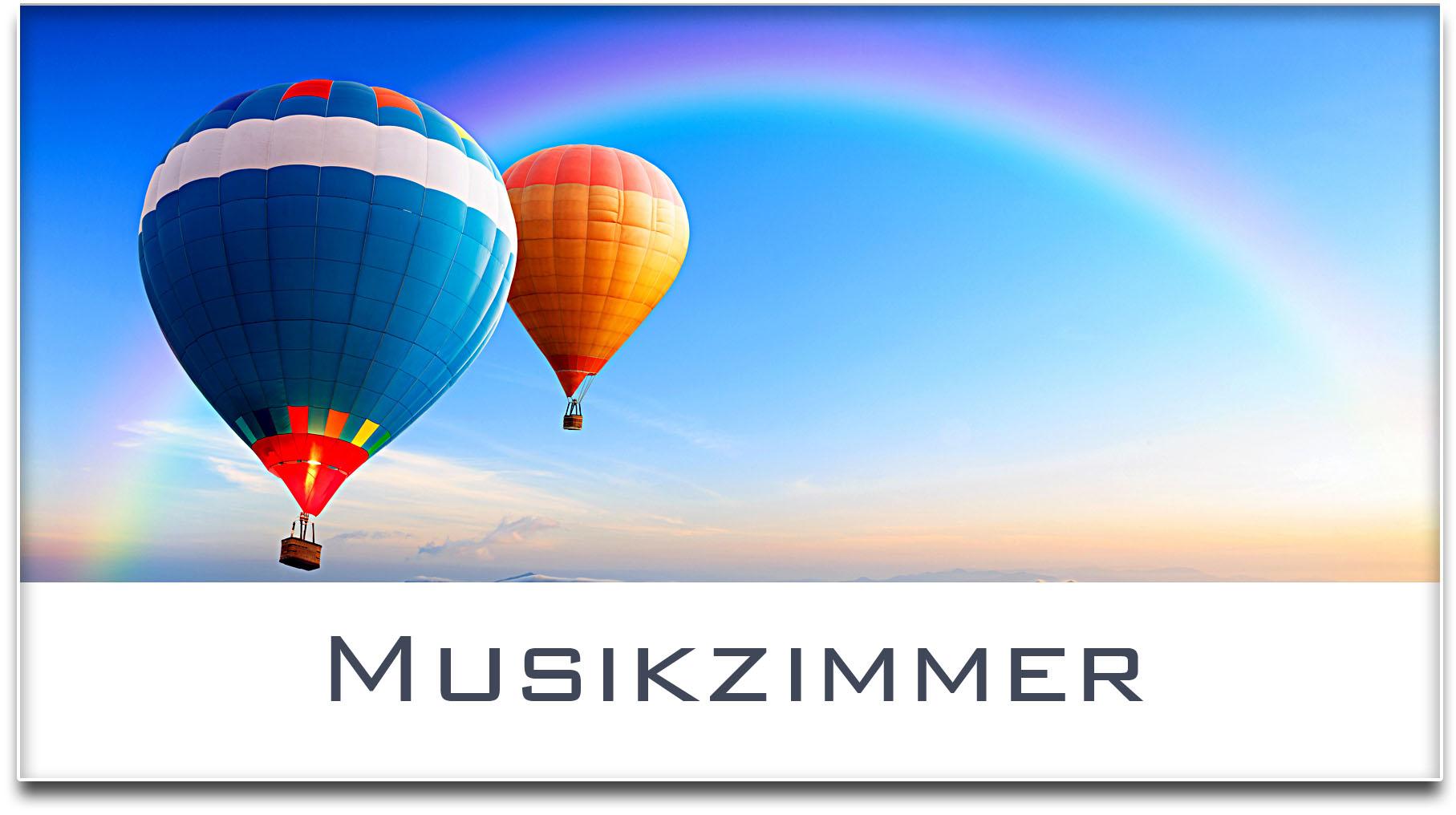 Türschild / Haustürschild / Heissluftballons / Musikzimmer / Selbstklebend