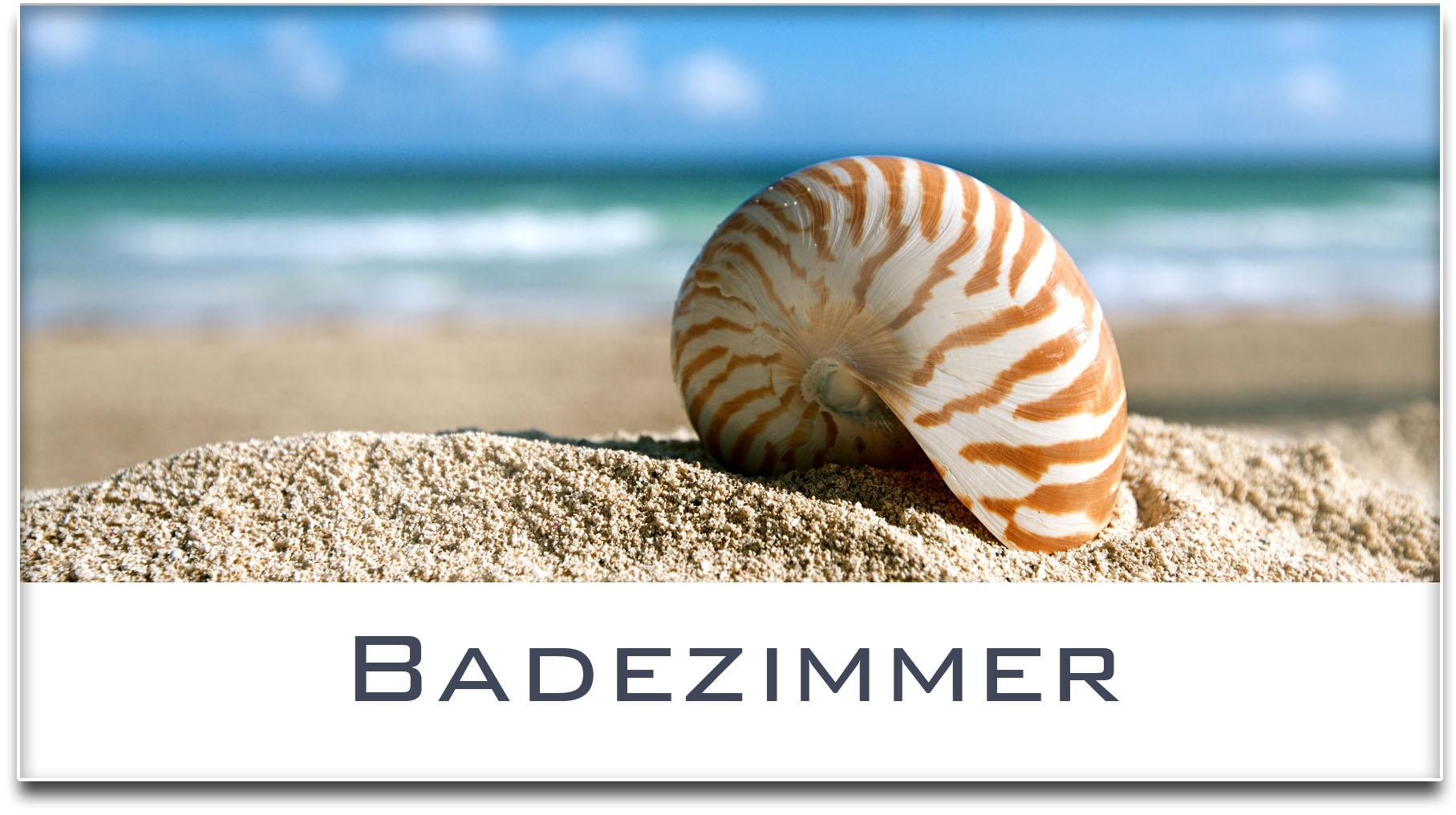 Türschild / Haustürschild / Muschel / Strand / Badezimmer / Selbstklebend