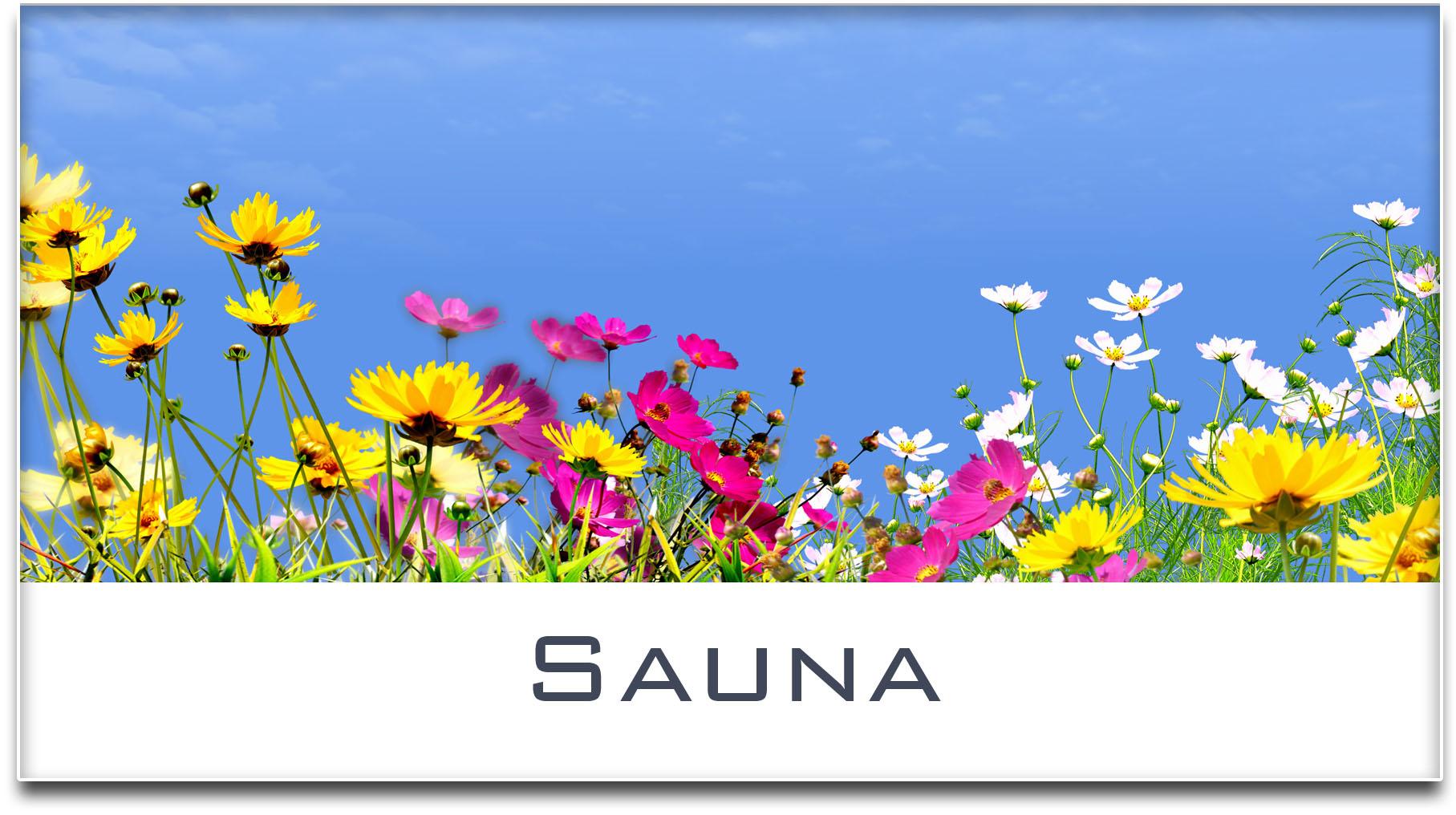 Türschild / Haustürschild / Blumenwiese / Sauna / Selbstklebend