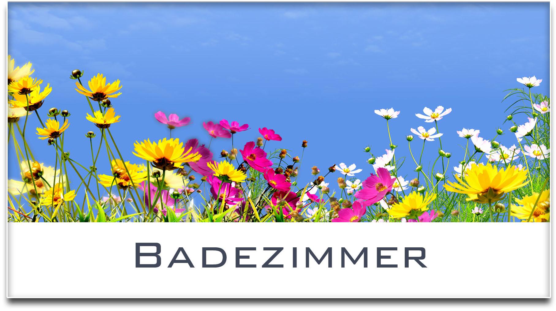 Türschild / Haustürschild / Blumenwiese / Badezimmer / Selbstklebend