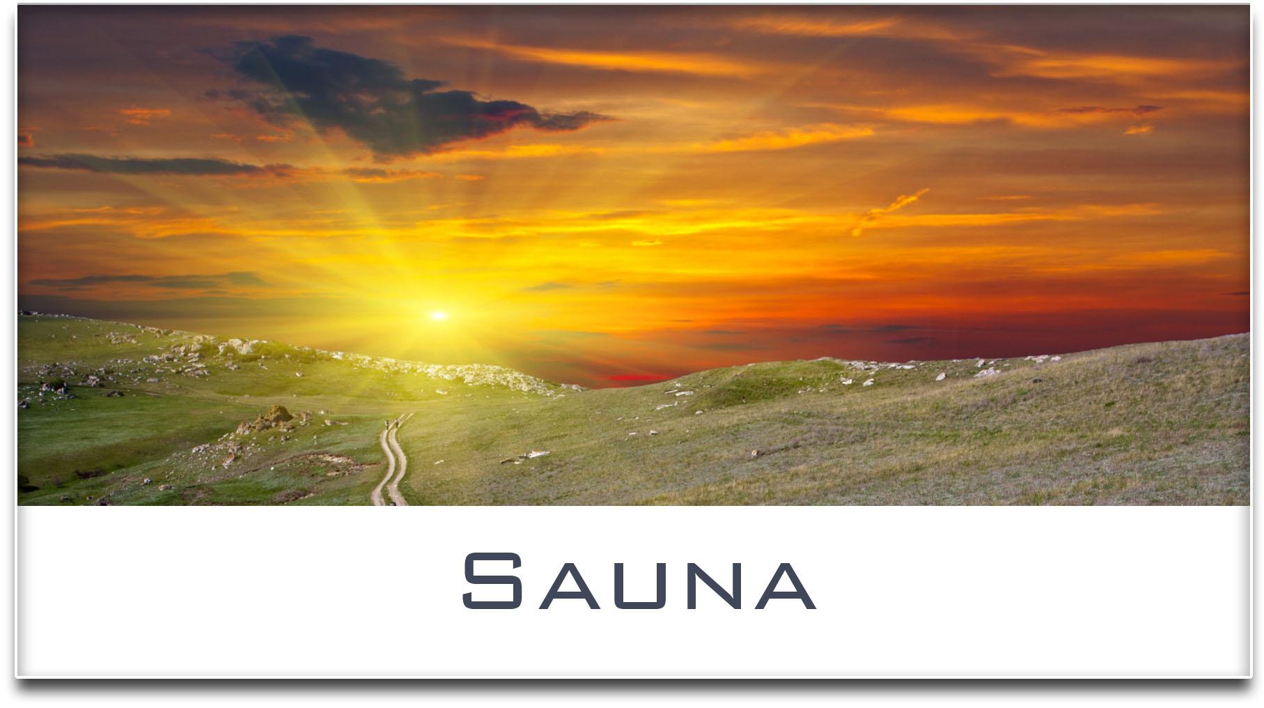 Türschild / Haustürschild / Sonnenuntergang / Sauna / Selbstklebend