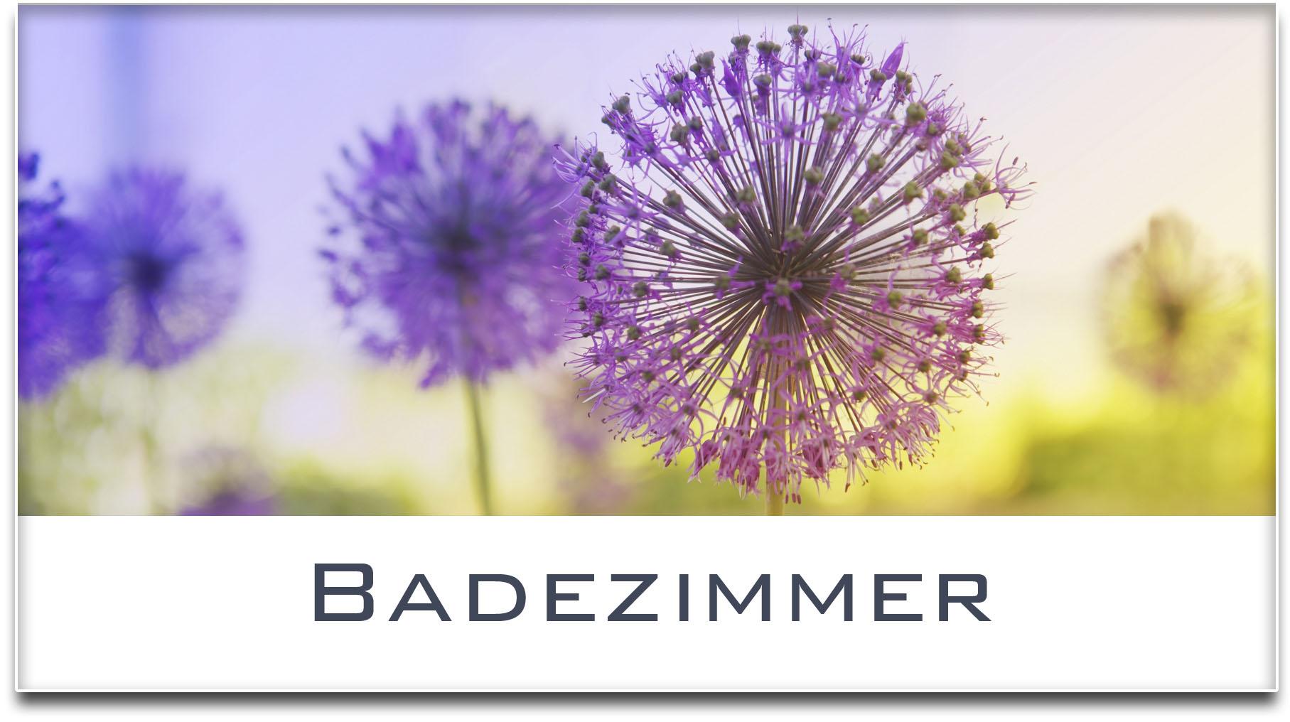 Türschild / Haustürschild / Blume / Badezimmer / Selbstklebend