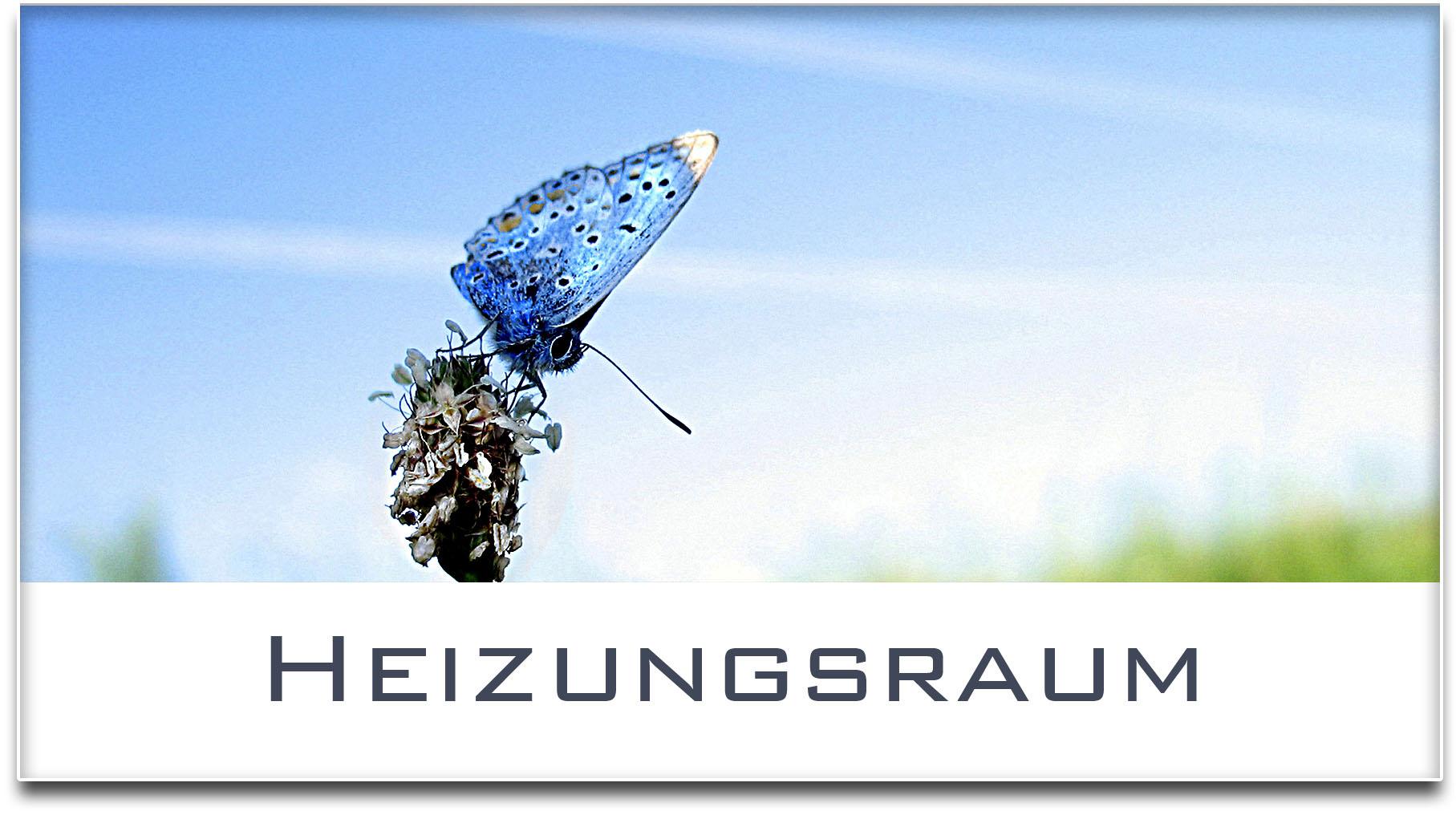 Türschild / Haustürschild / Schmetterling / Heizungsraum / Selbstklebend