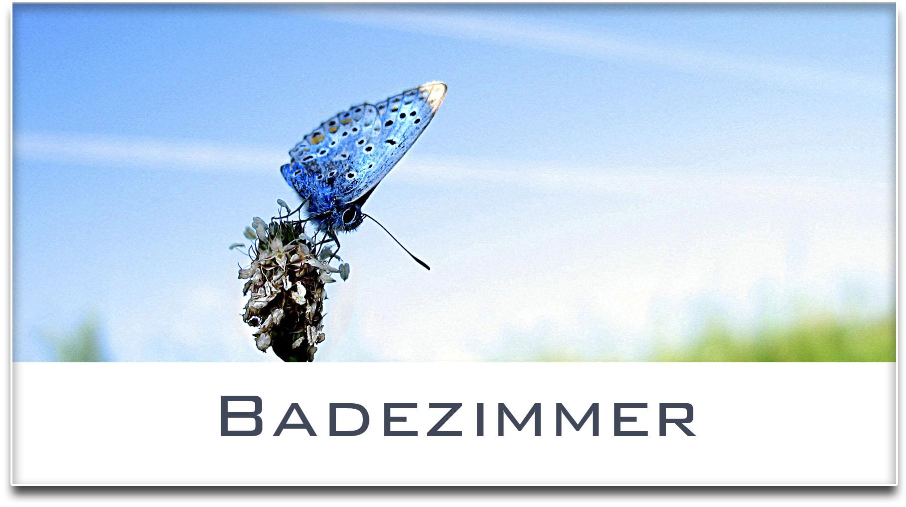 Türschild / Haustürschild / Schmetterling / Badezimmer / Selbstklebend