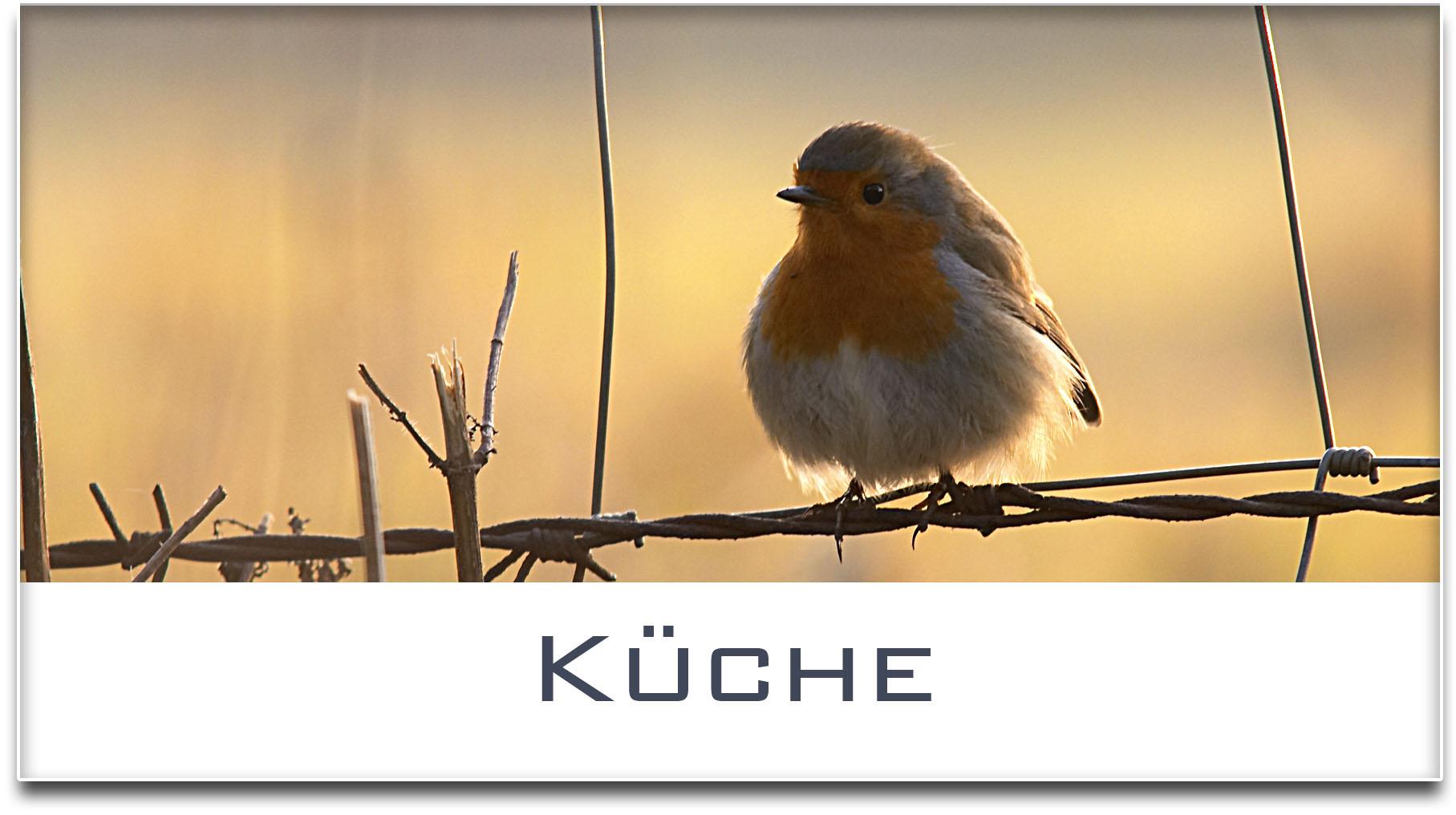 Türschild / Haustürschild / Rotkehlchen / Küche / Selbstklebend