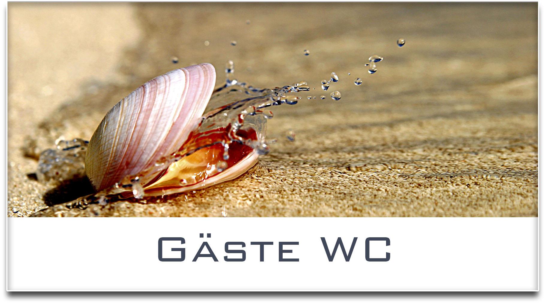 Türschild / Haustürschild / Muschel / Gäste WC / Selbstklebend