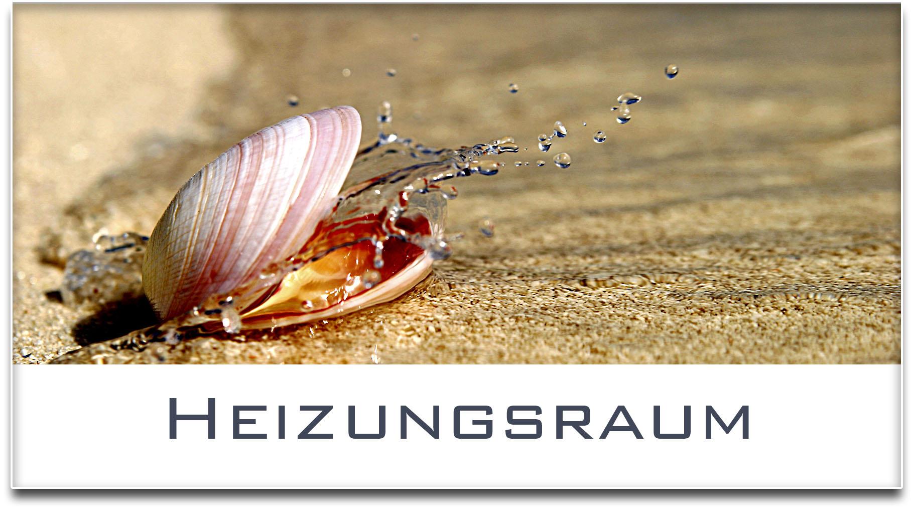 Türschild / Haustürschild / Muschel / Heizungsraum / Selbstklebend