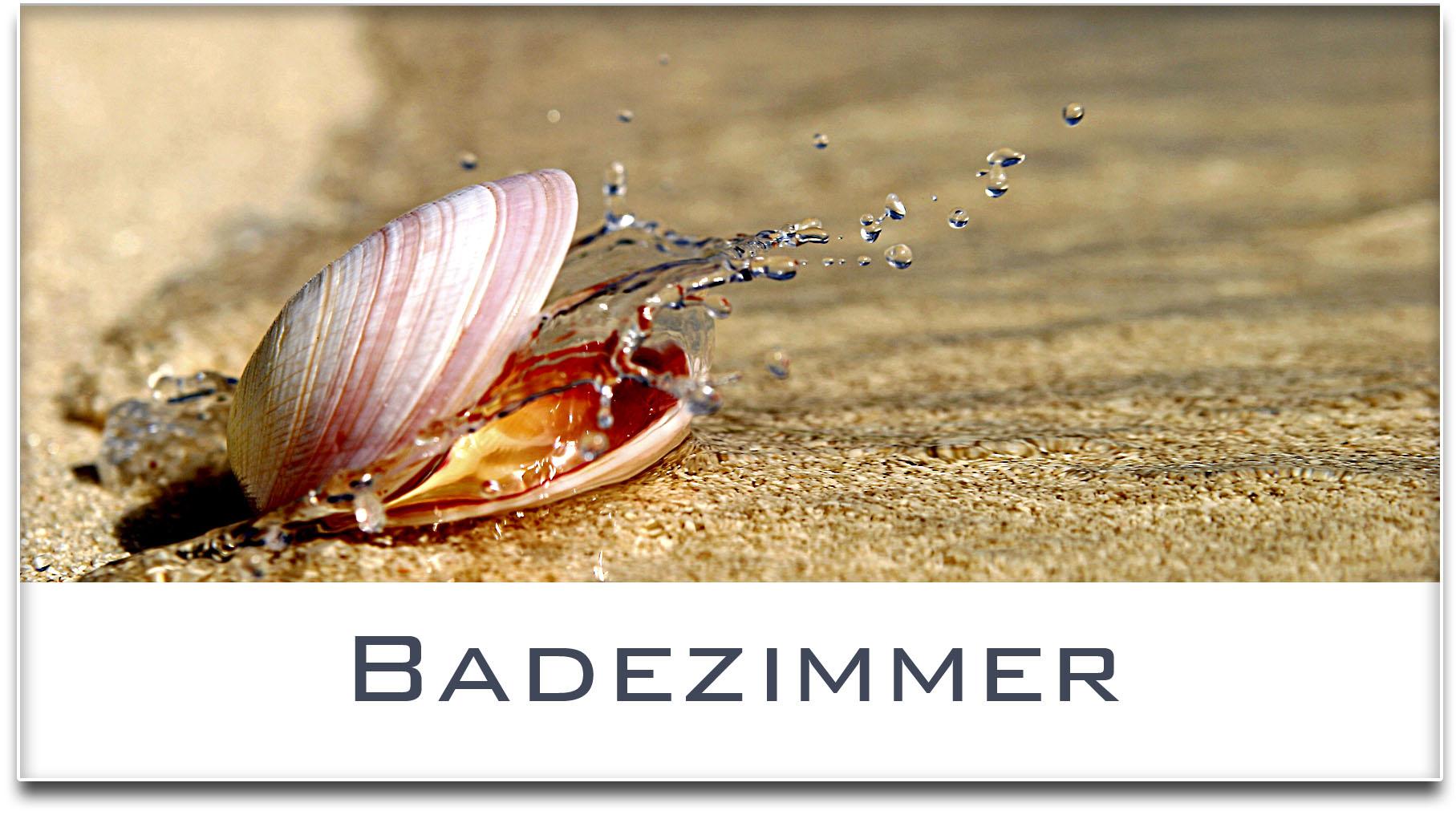 Türschild / Haustürschild / Muschel / Badezimmer / Selbstklebend