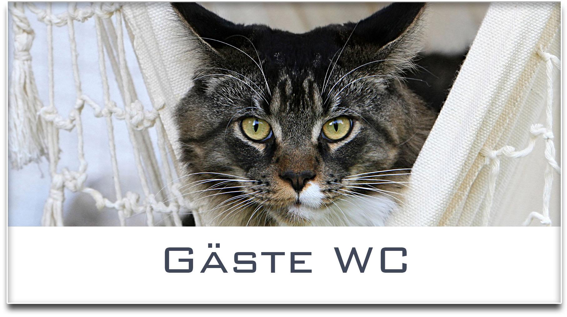 Türschild / Haustürschild / Katze / Gäste WC / Selbstklebend