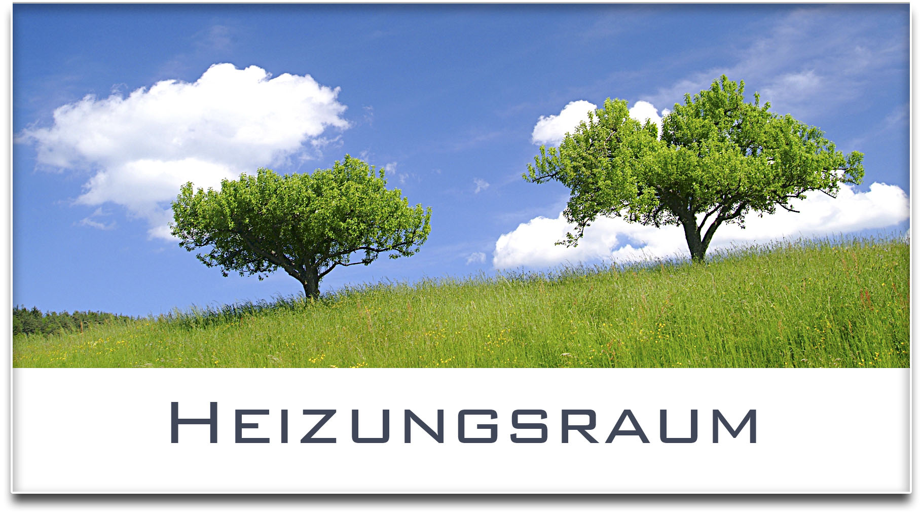 Türschild / Haustürschild / Bäume / Heizungsraum / Selbstklebend