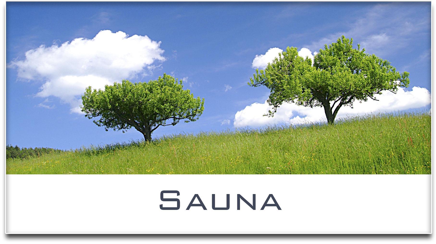 Türschild / Haustürschild / Bäume / Sauna / Selbstklebend