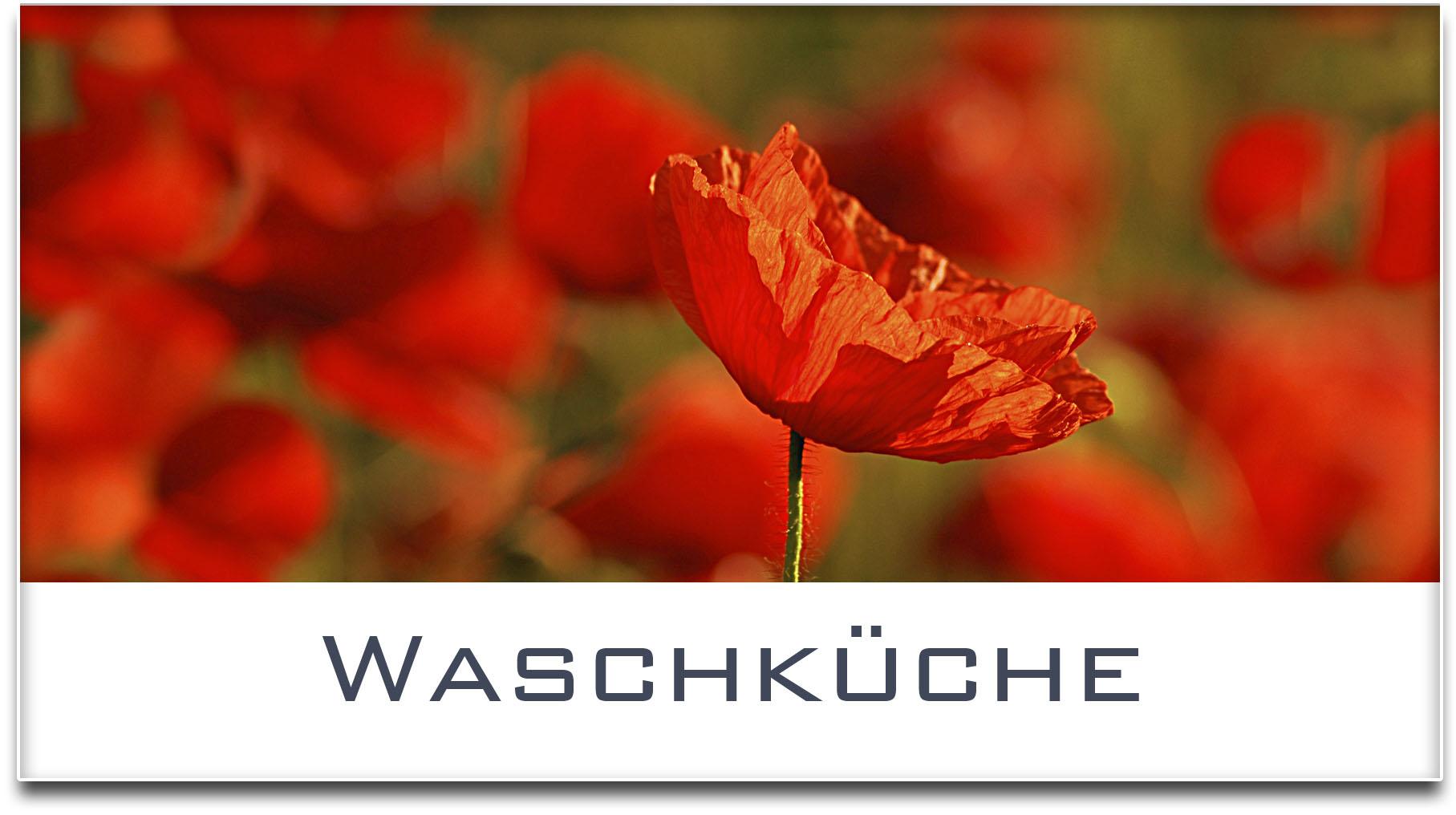 Türschild / Haustürschild / Mohnfeld / Waschküche / Selbstklebend