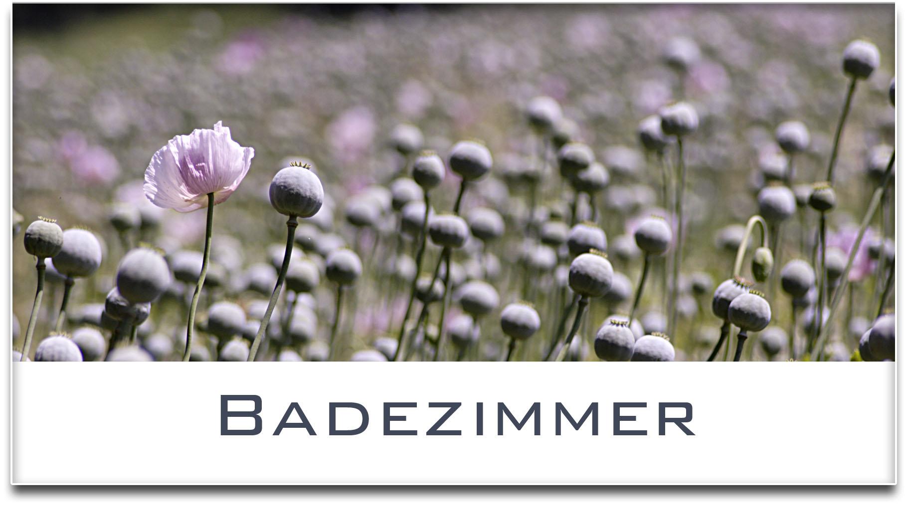 Türschild / Haustürschild / Mohnfeld / Badezimmer / Selbstklebend