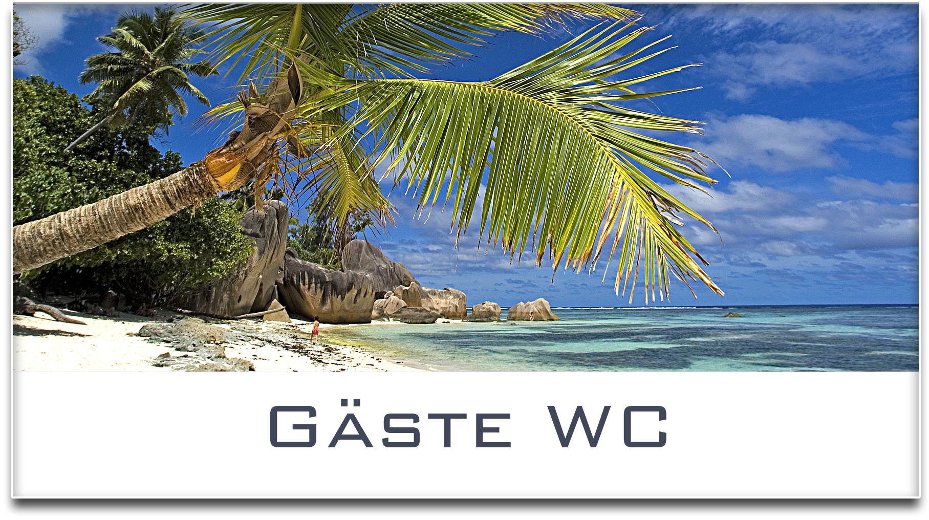Türschild / Haustürschild / Palme / Strand / Gäste WC / Selbstklebend