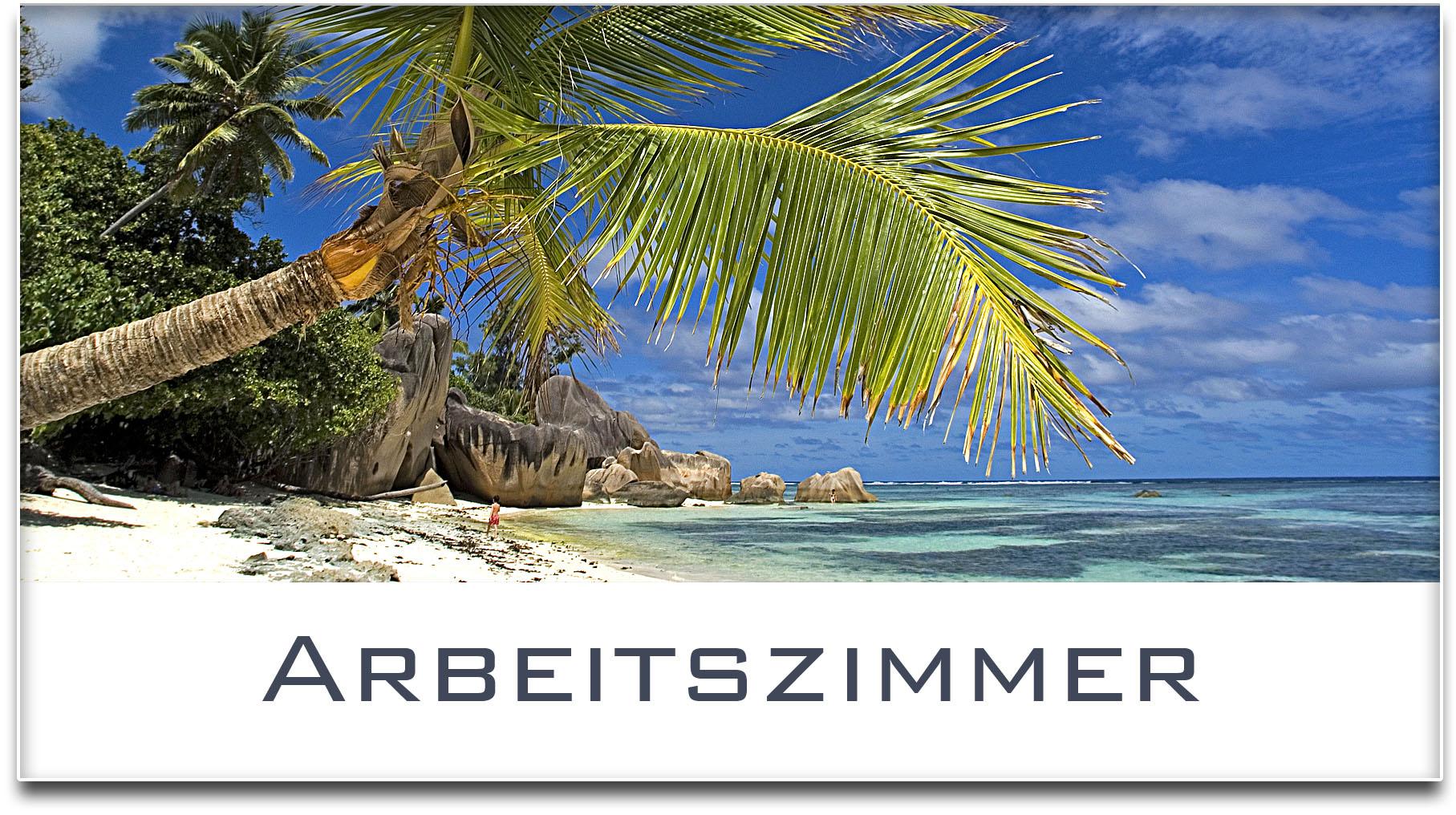 Türschild / Haustürschild / Palme / Strand / Arbeitszimmer / Selbstklebend