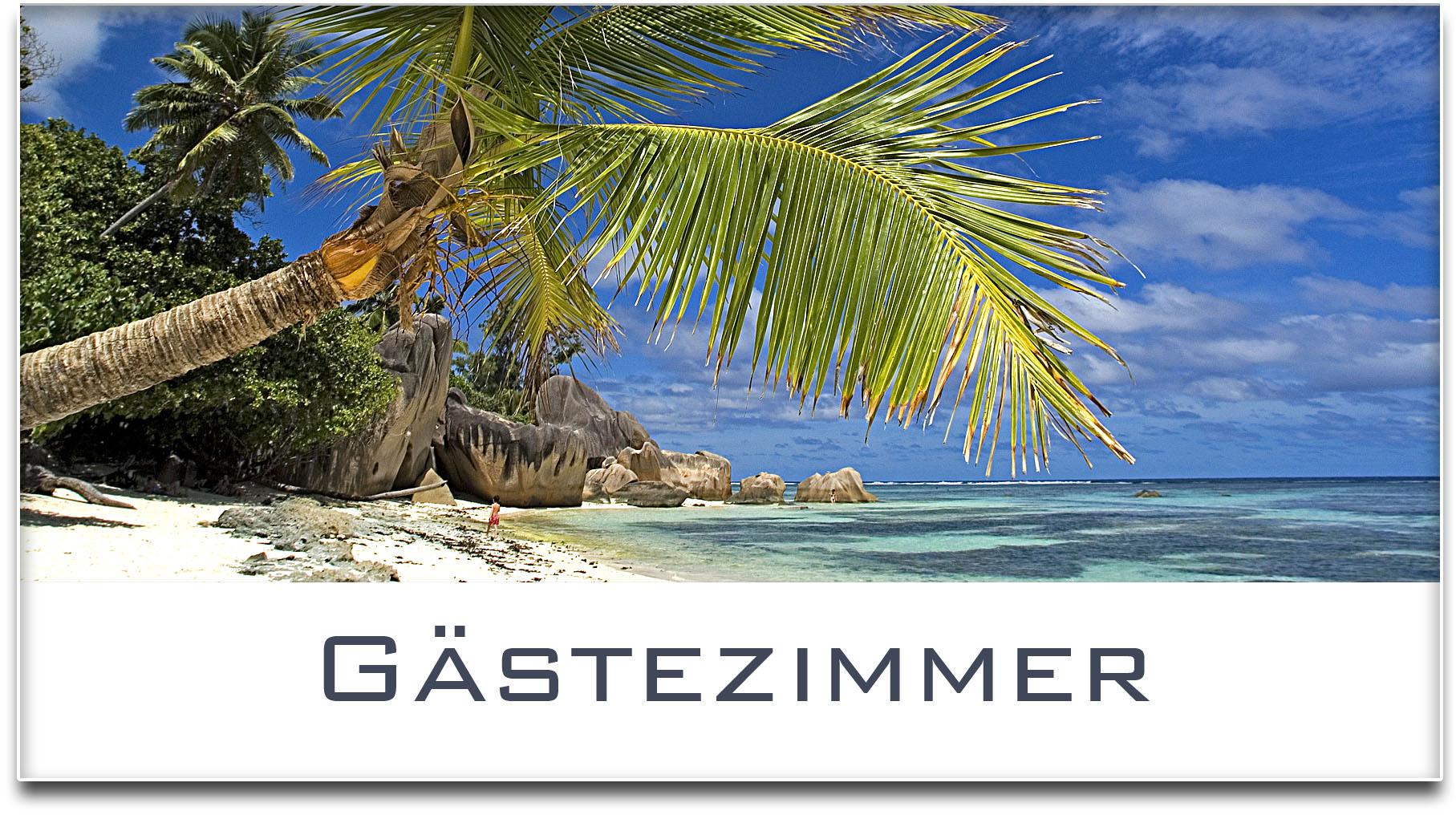 Türschild / Haustürschild / Palme / Strand / Gästezimmer / Selbstklebend